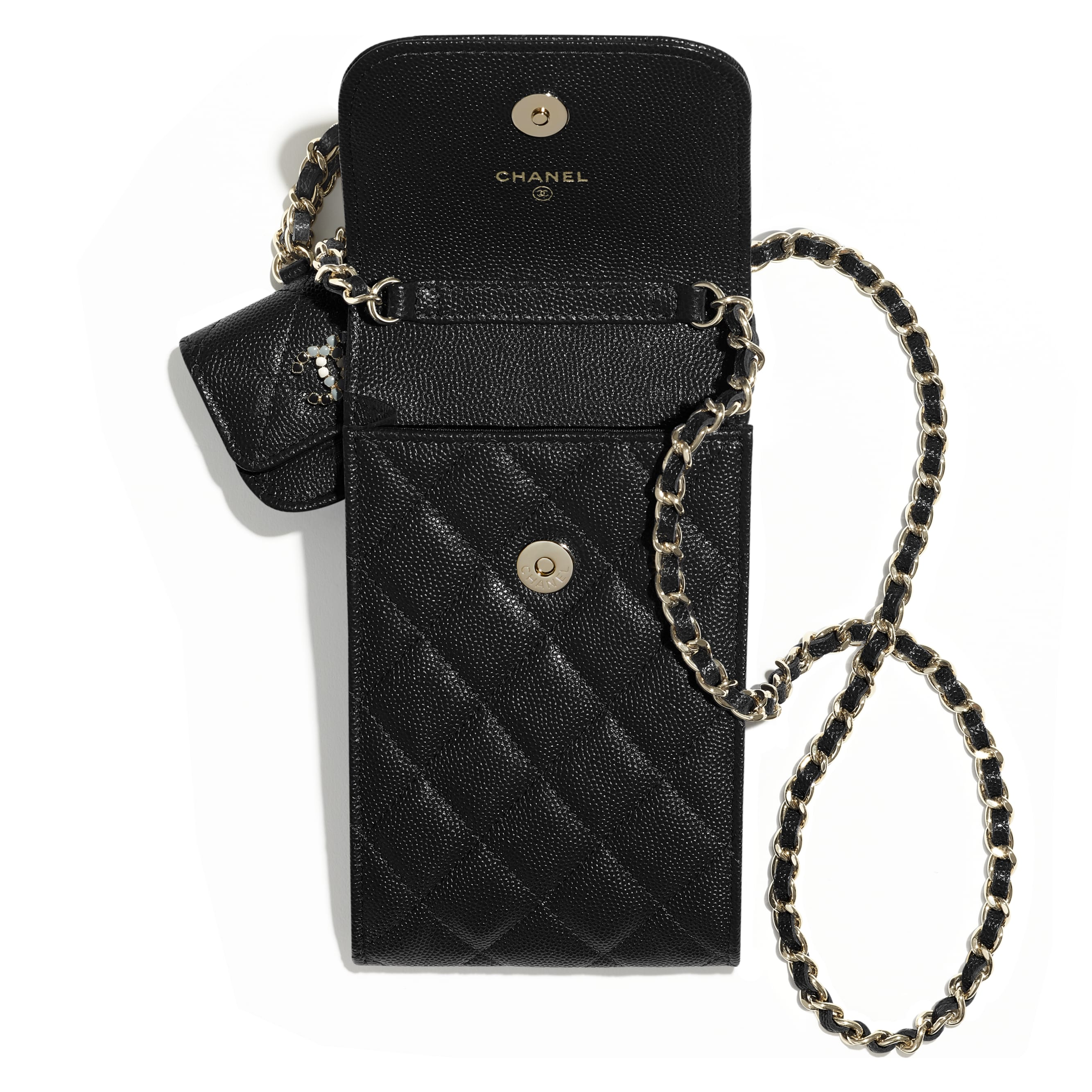Phone & Airpods Case with Chain - Black - Grained Calfskin & Laquered Gold-Tone Metal - CHANEL - Alternative view - see standard sized version
