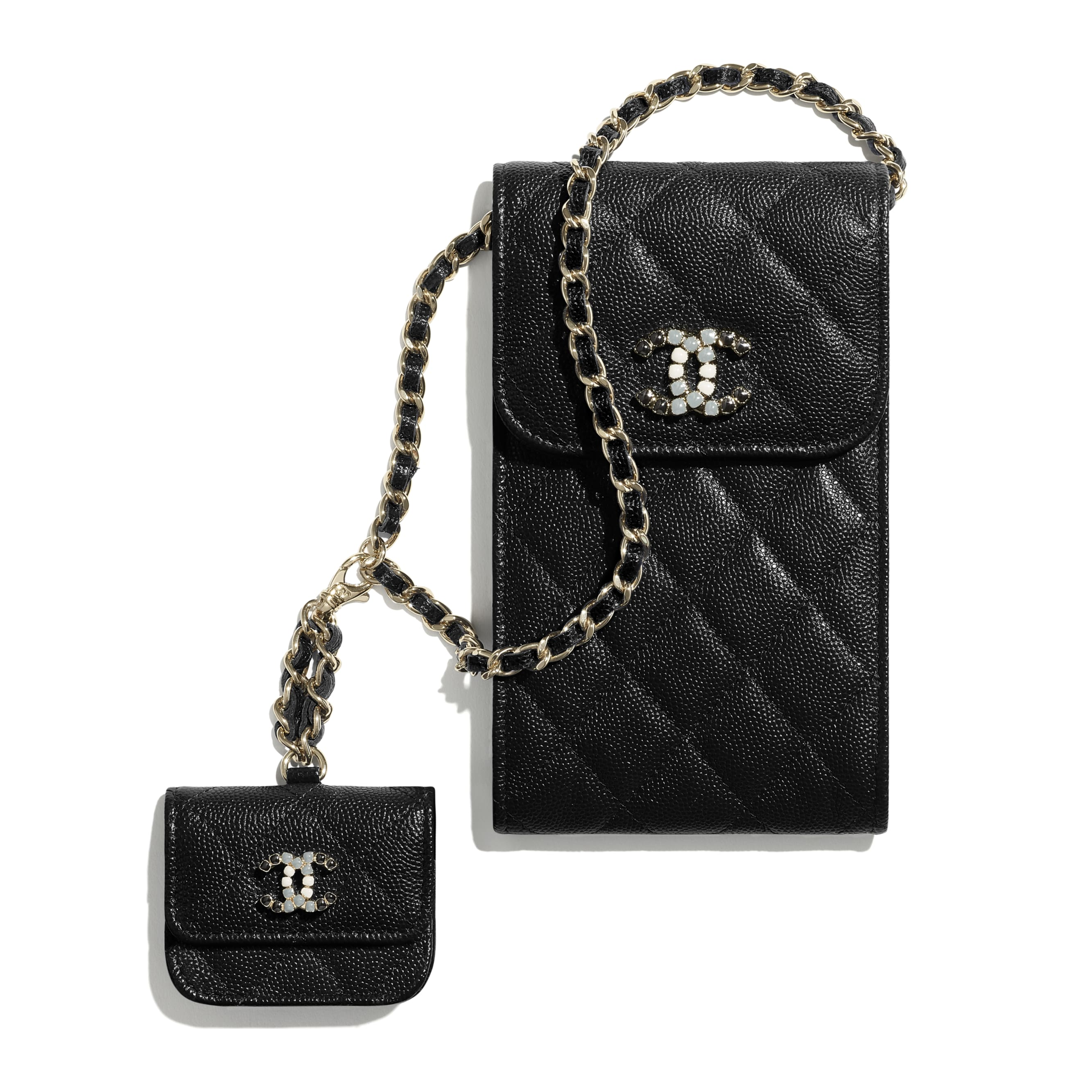 Phone & Airpods Case with Chain - Black - Grained Calfskin & Laquered Gold-Tone Metal - CHANEL - Default view - see standard sized version