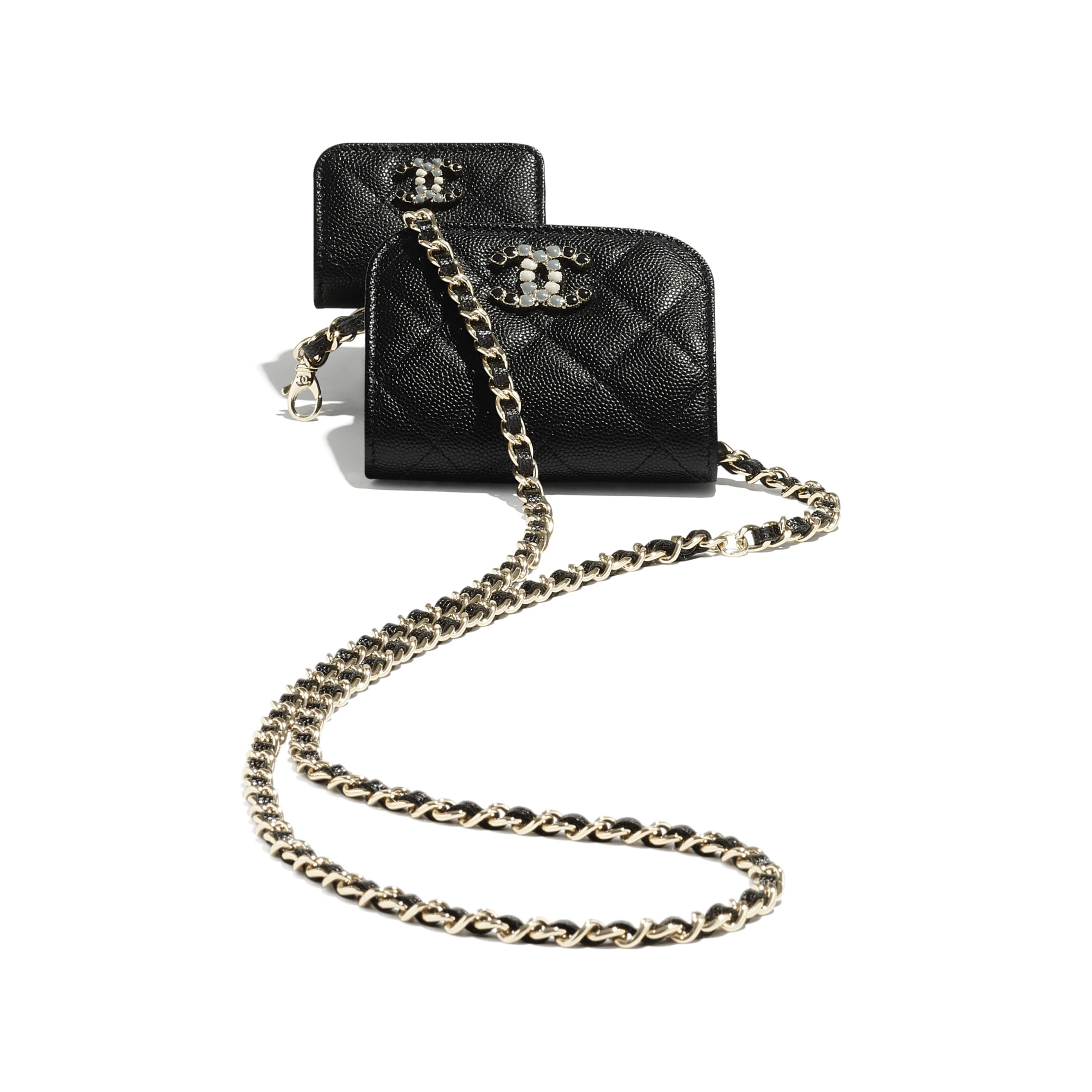 Phone & Airpods Case with Chain - Black - Grained Calfskin & Laquered Gold-Tone Metal - CHANEL - Other view - see standard sized version