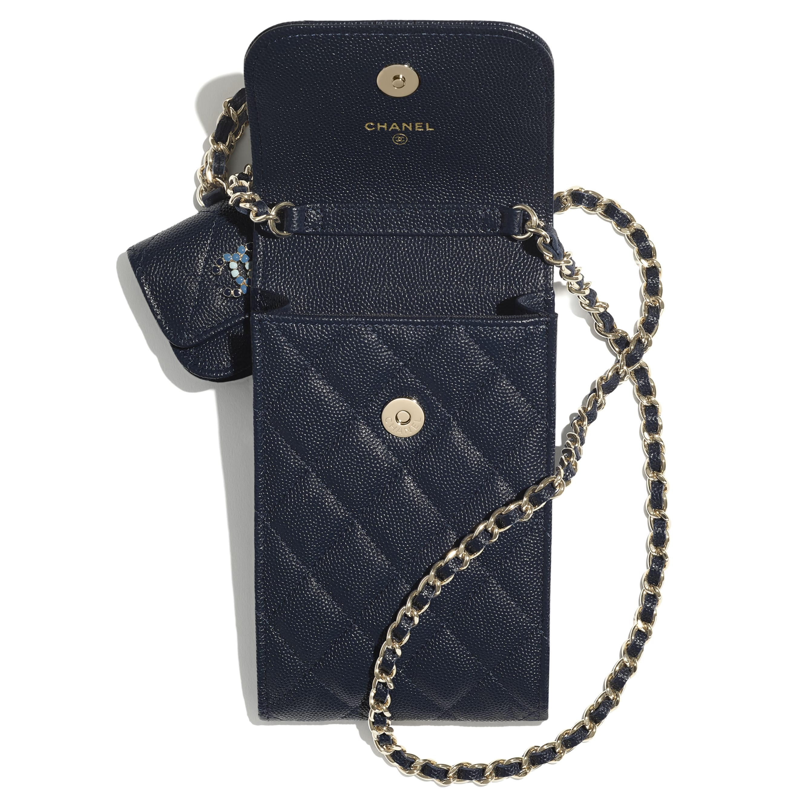 Phone & Airpods Case with Chain - Navy Blue - Grained Calfskin & Laquered Gold-Tone Metal - CHANEL - Alternative view - see standard sized version