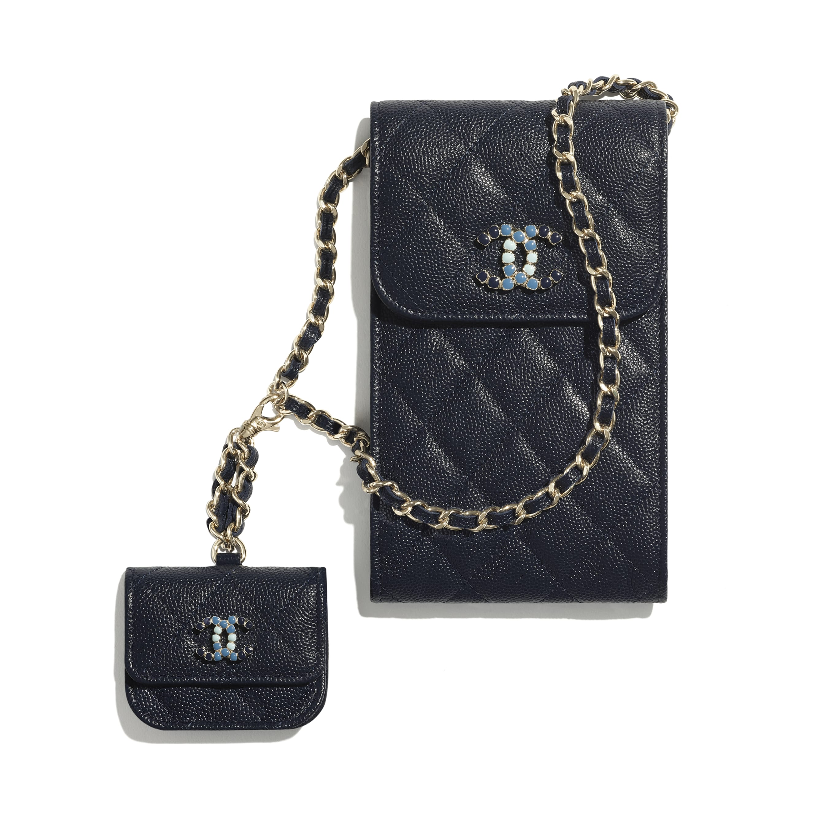 Phone & Airpods Case with Chain - Navy Blue - Grained Calfskin & Laquered Gold-Tone Metal - CHANEL - Default view - see standard sized version