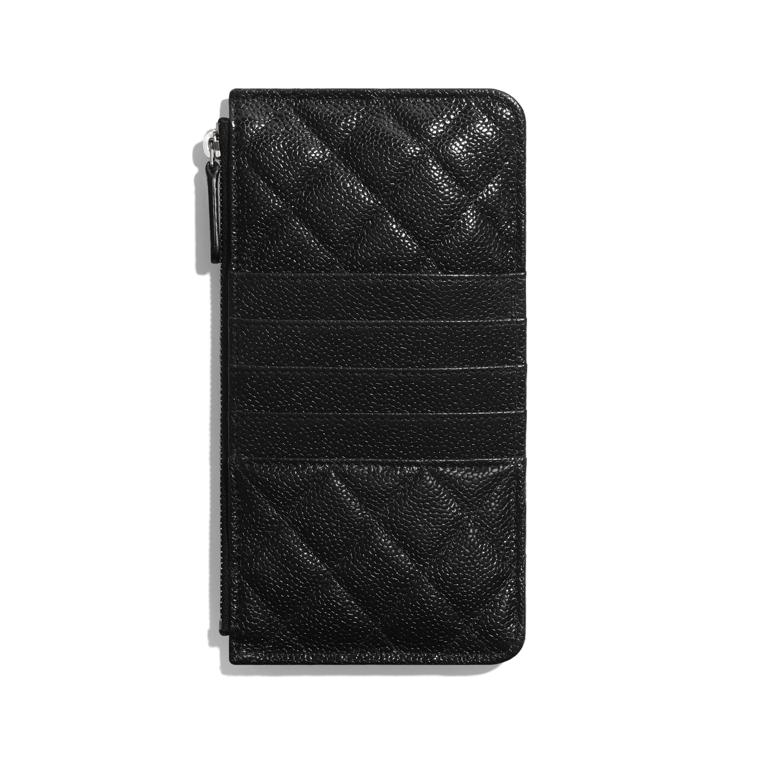 Phone & Card Holder - Black - Grained Calfskin & Lacquered Metal - CHANEL - Alternative view - see standard sized version
