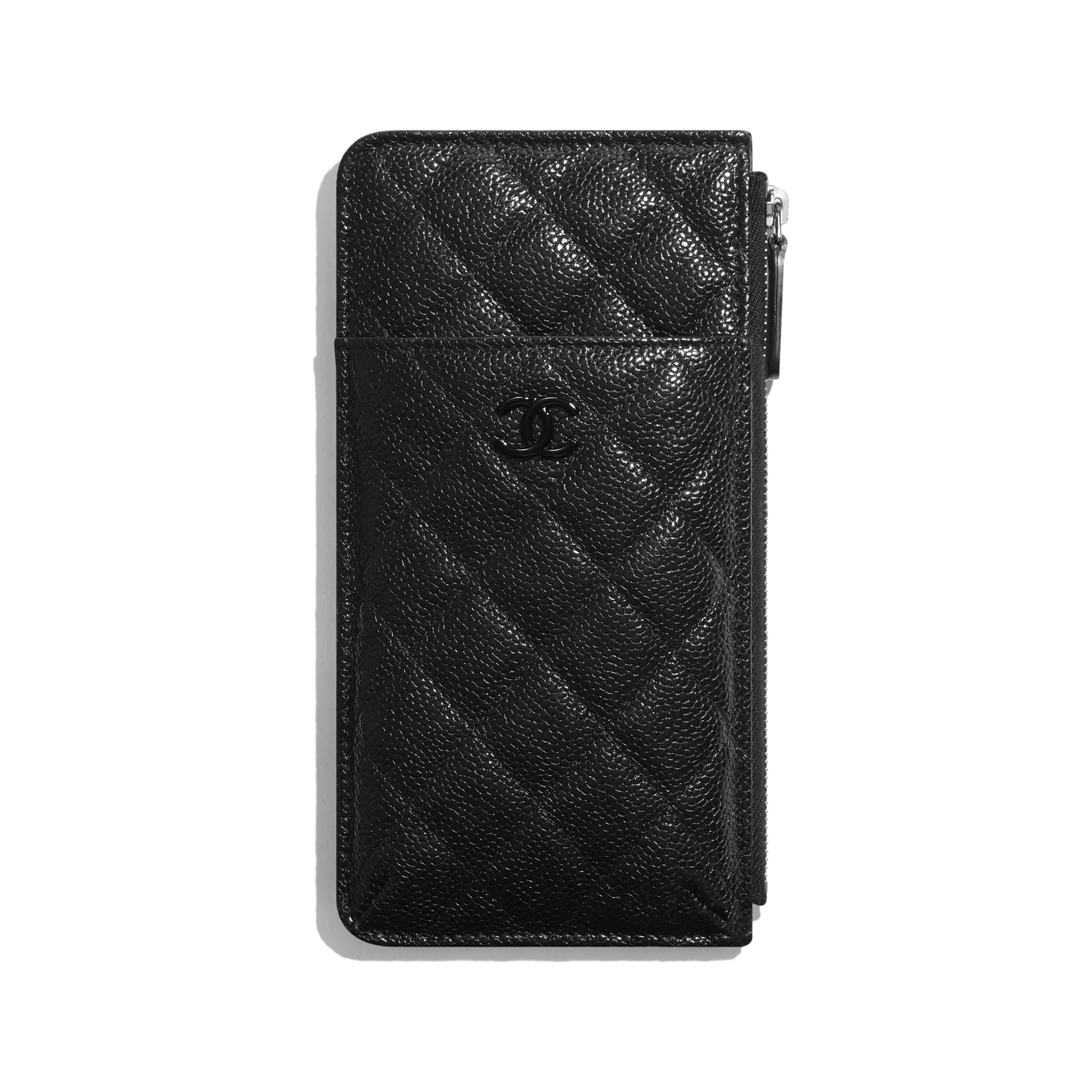Phone & Card Holder - Black - Grained Calfskin & Lacquered Metal - CHANEL - Default view - see standard sized version