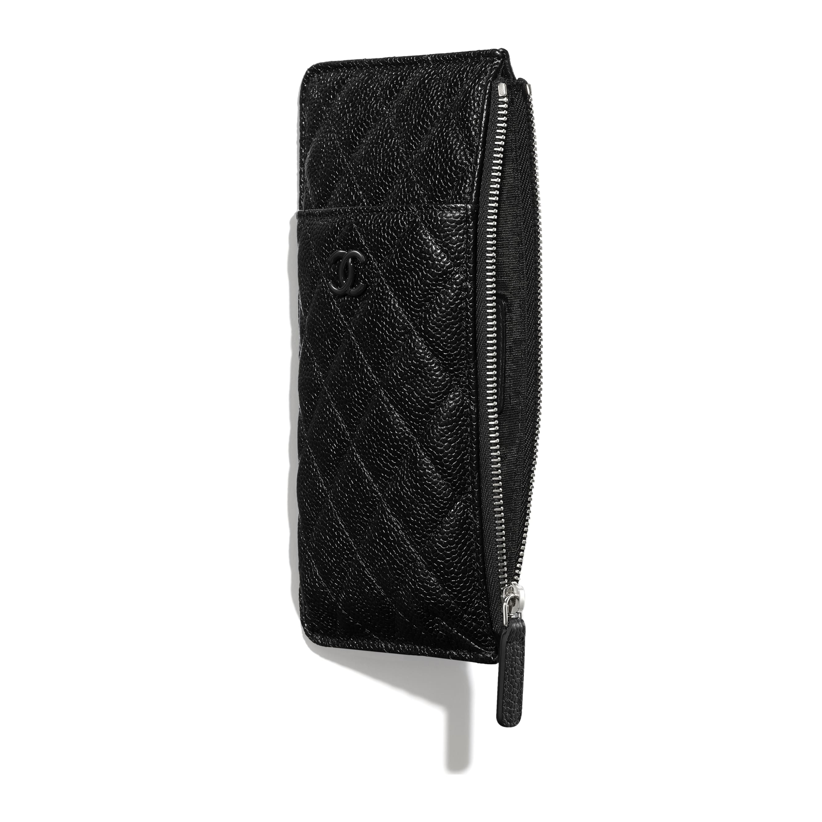 Phone & Card Holder - Black - Grained Calfskin & Lacquered Metal - CHANEL - Other view - see standard sized version