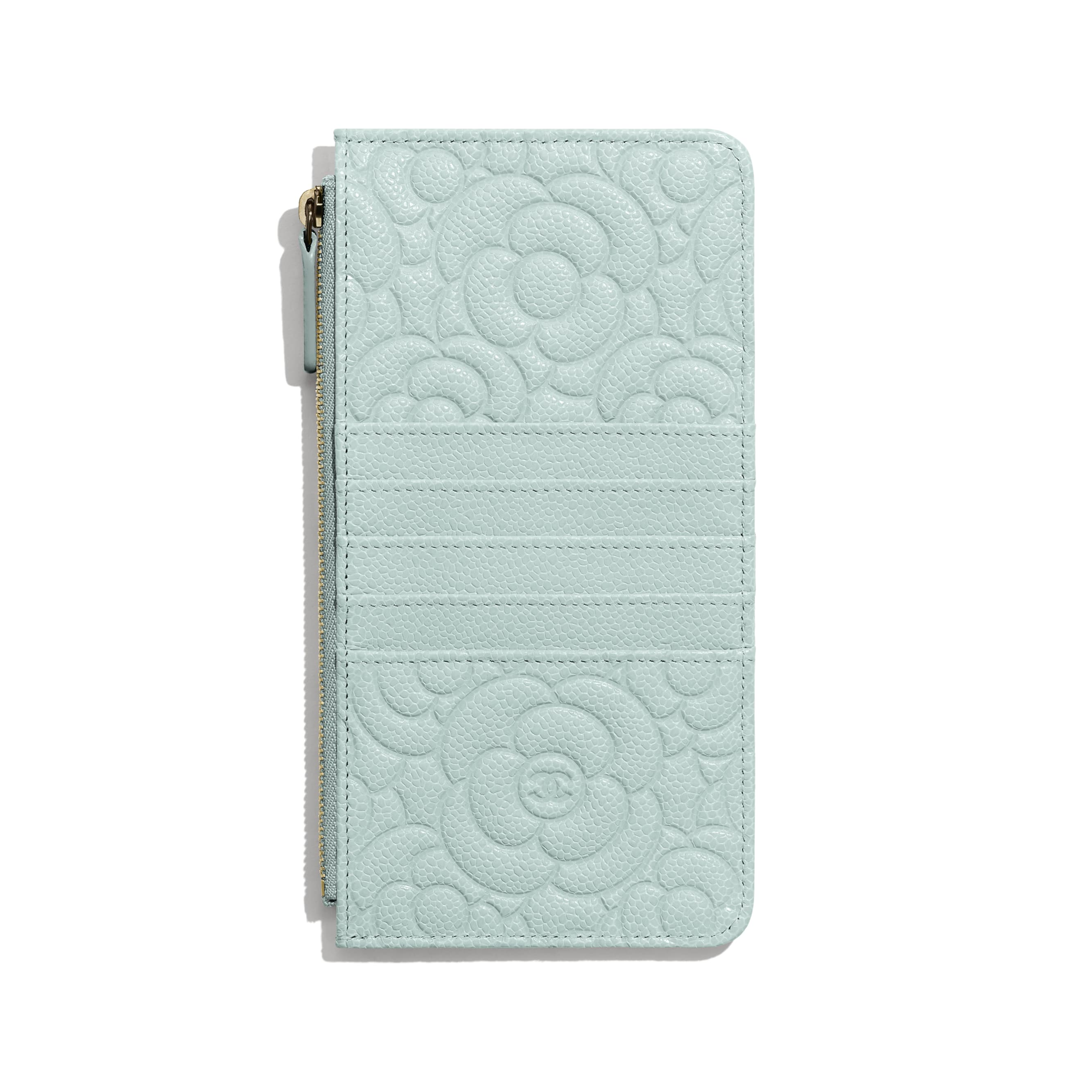 Phone & Card Holder - Light Blue - Grained Shiny Calfskin & Gold-Tone Metal - Alternative view - see standard sized version