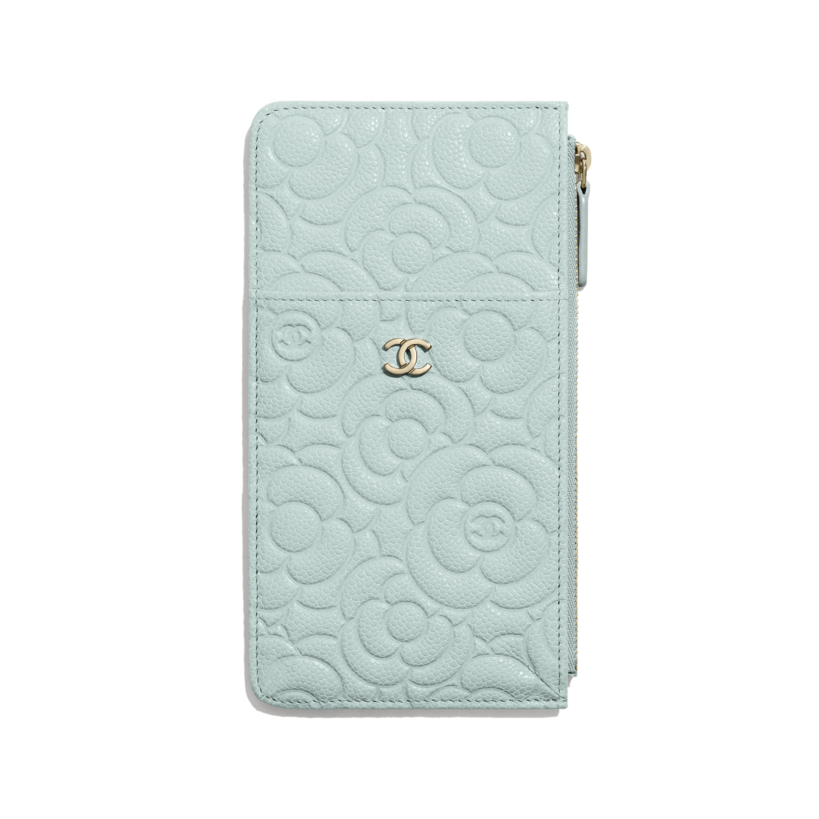 Phone & Card Holder - Light Blue - Grained Shiny Calfskin & Gold-Tone Metal - Default view - see standard sized version