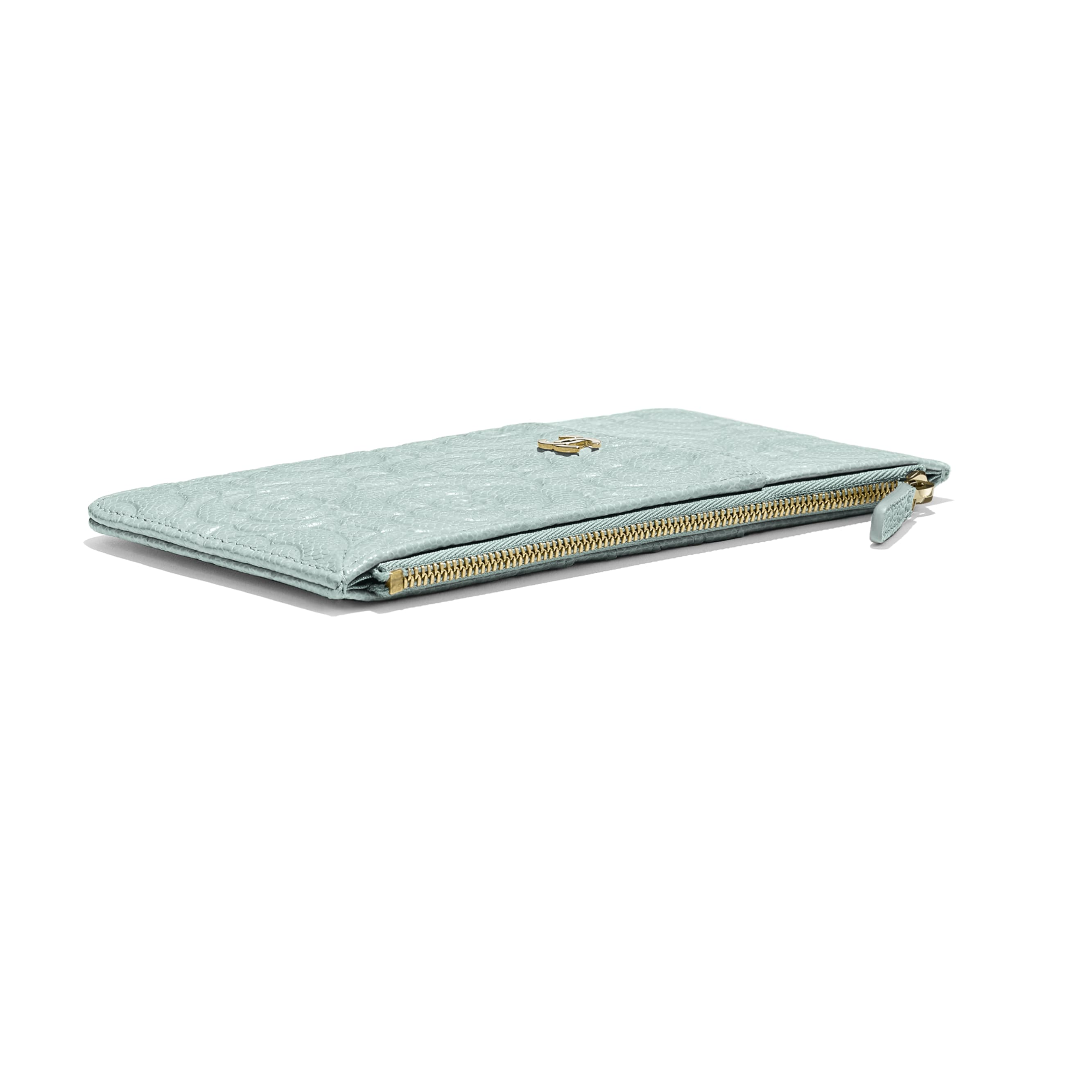 Phone & Card Holder - Light Blue - Grained Shiny Calfskin & Gold-Tone Metal - Extra view - see standard sized version