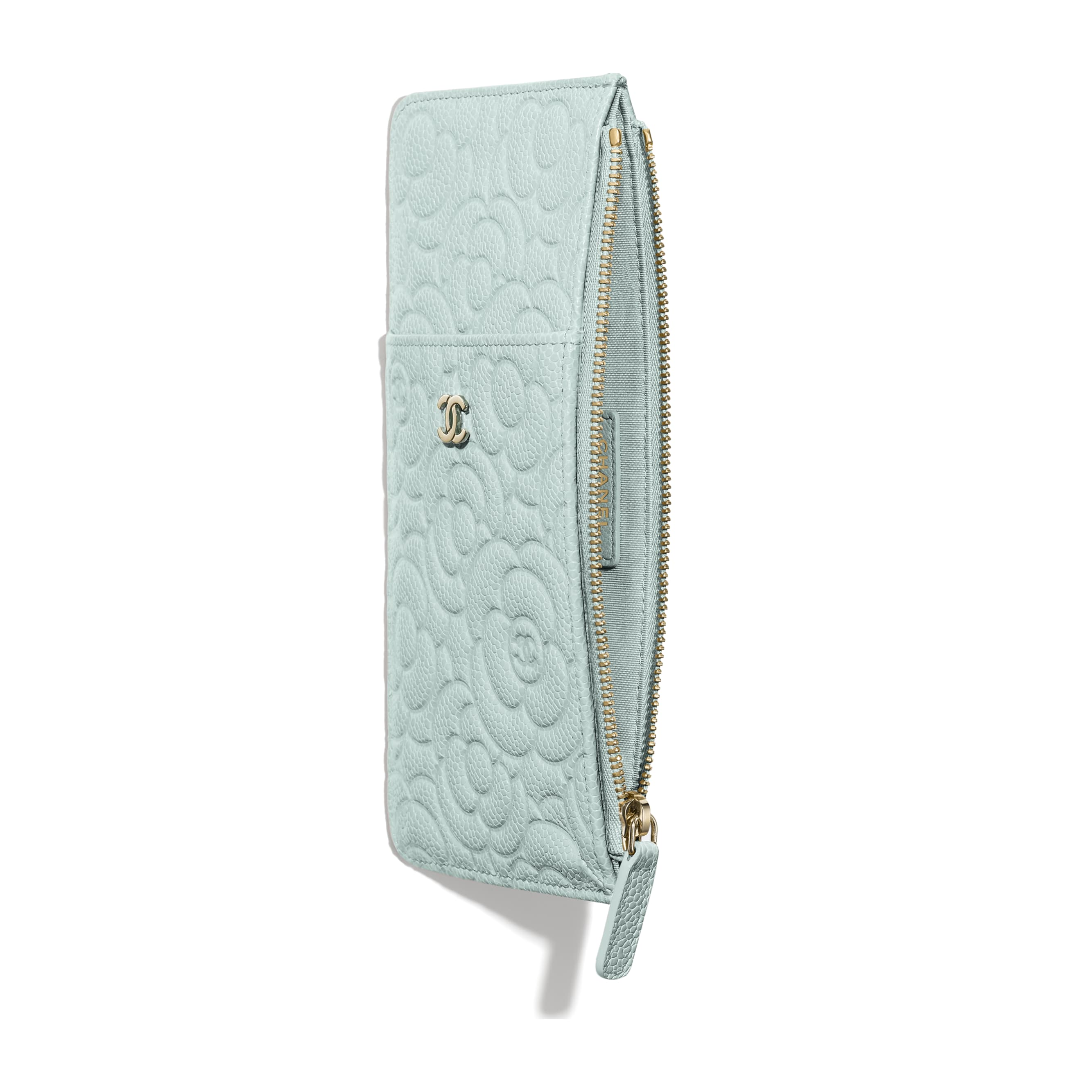 Phone & Card Holder - Light Blue - Grained Shiny Calfskin & Gold-Tone Metal - Other view - see standard sized version