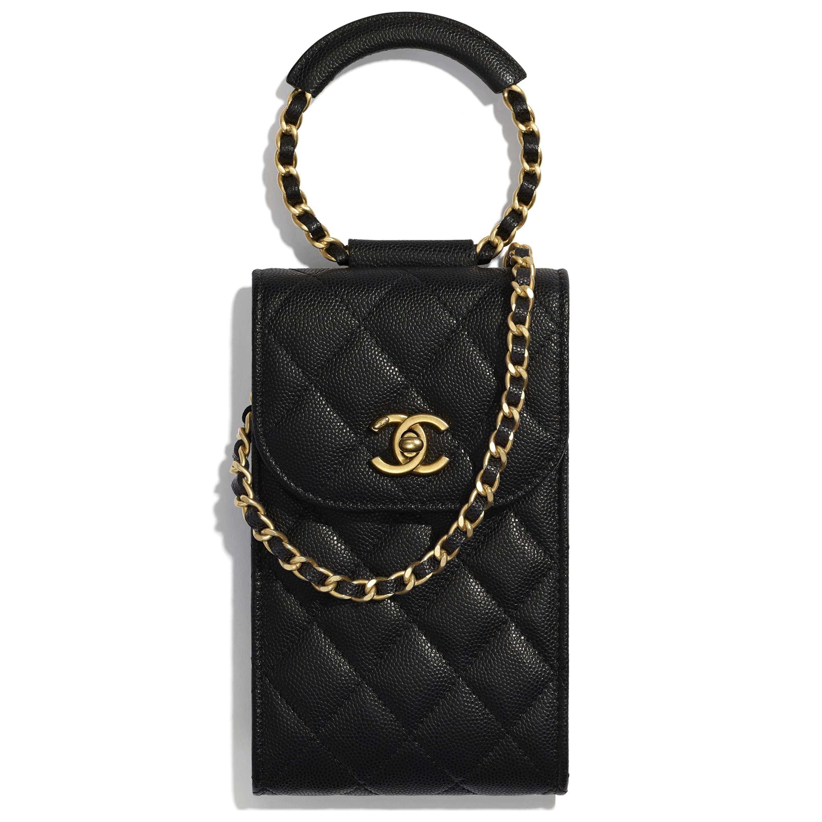 Phone Holder With Chain - Black - Grained Shiny Calfskin & Gold-Tone Metal - CHANEL - Default view - see standard sized version