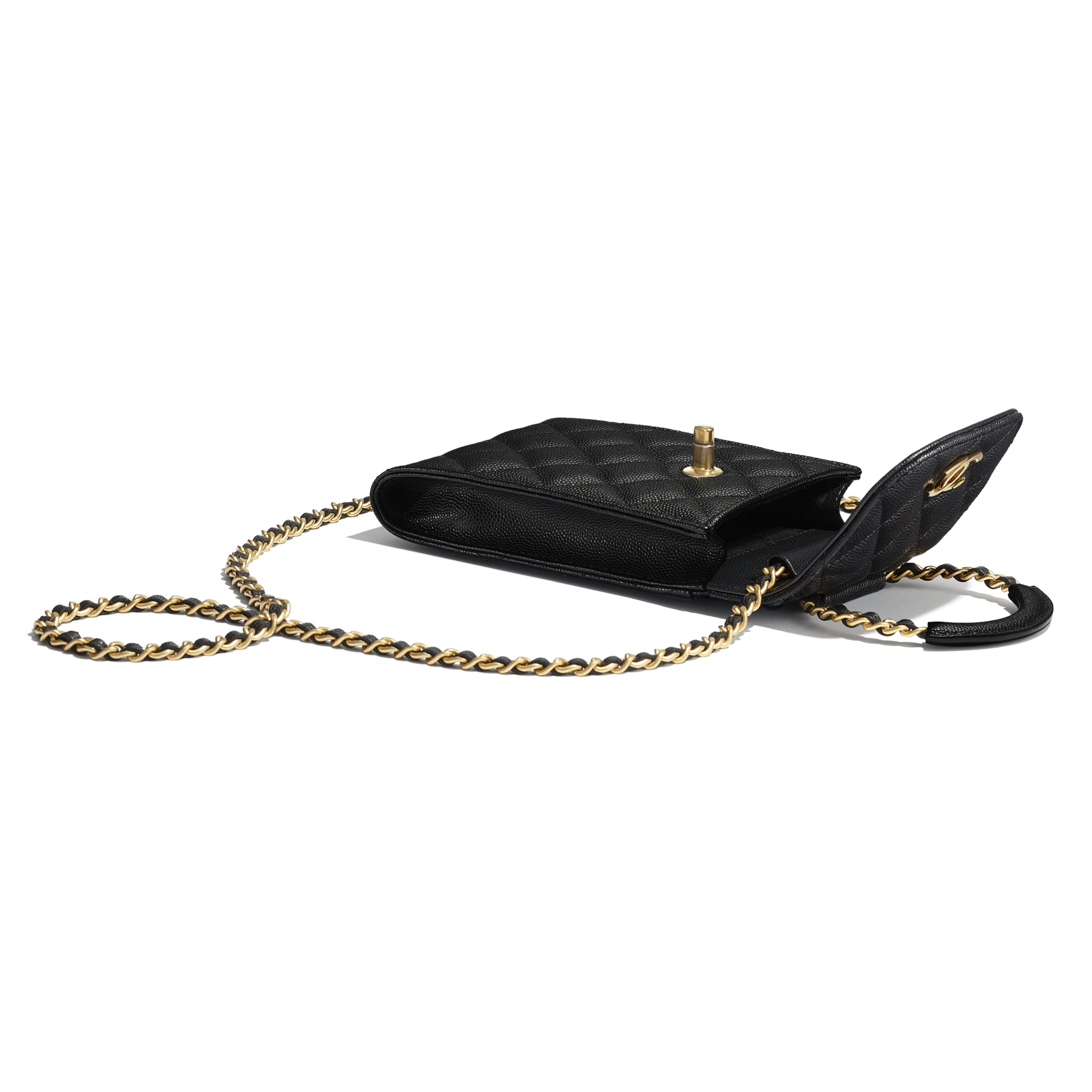 Phone Holder With Chain - Black - Grained Shiny Calfskin & Gold-Tone Metal - Extra view - see standard sized version
