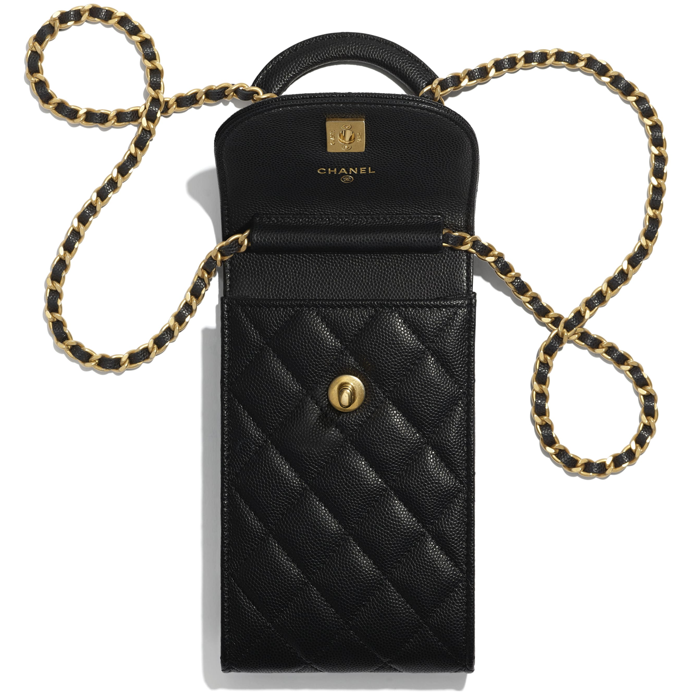 Phone Holder With Chain - Black - Grained Shiny Calfskin & Gold-Tone Metal - CHANEL - Other view - see standard sized version