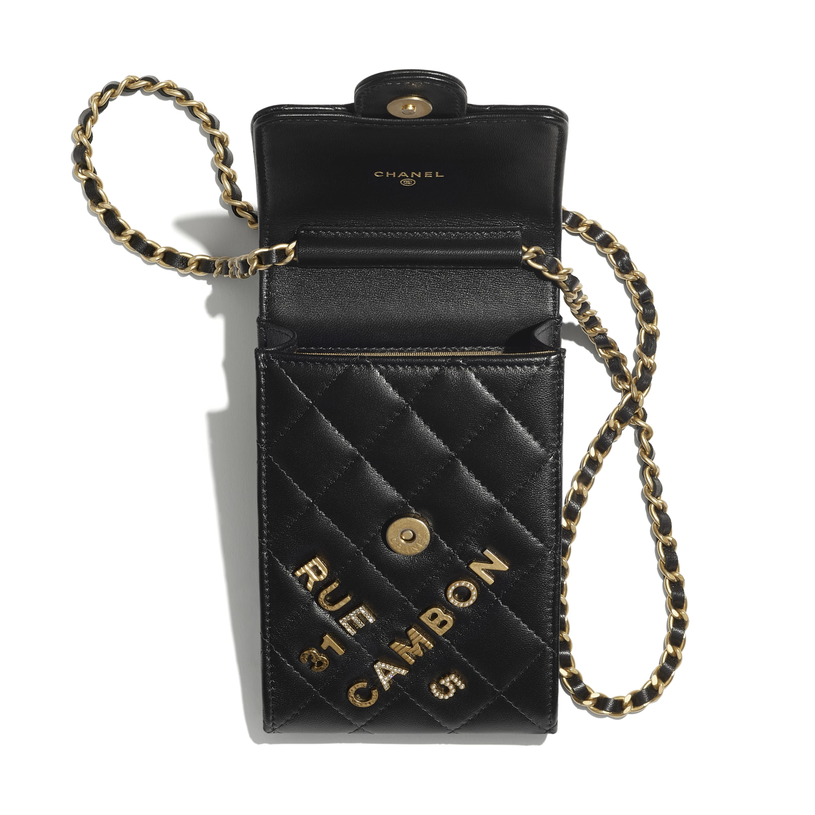 Phone Holder with Chain - Black - Lambskin & Gold-Tone Metal - CHANEL - Alternative view - see standard sized version