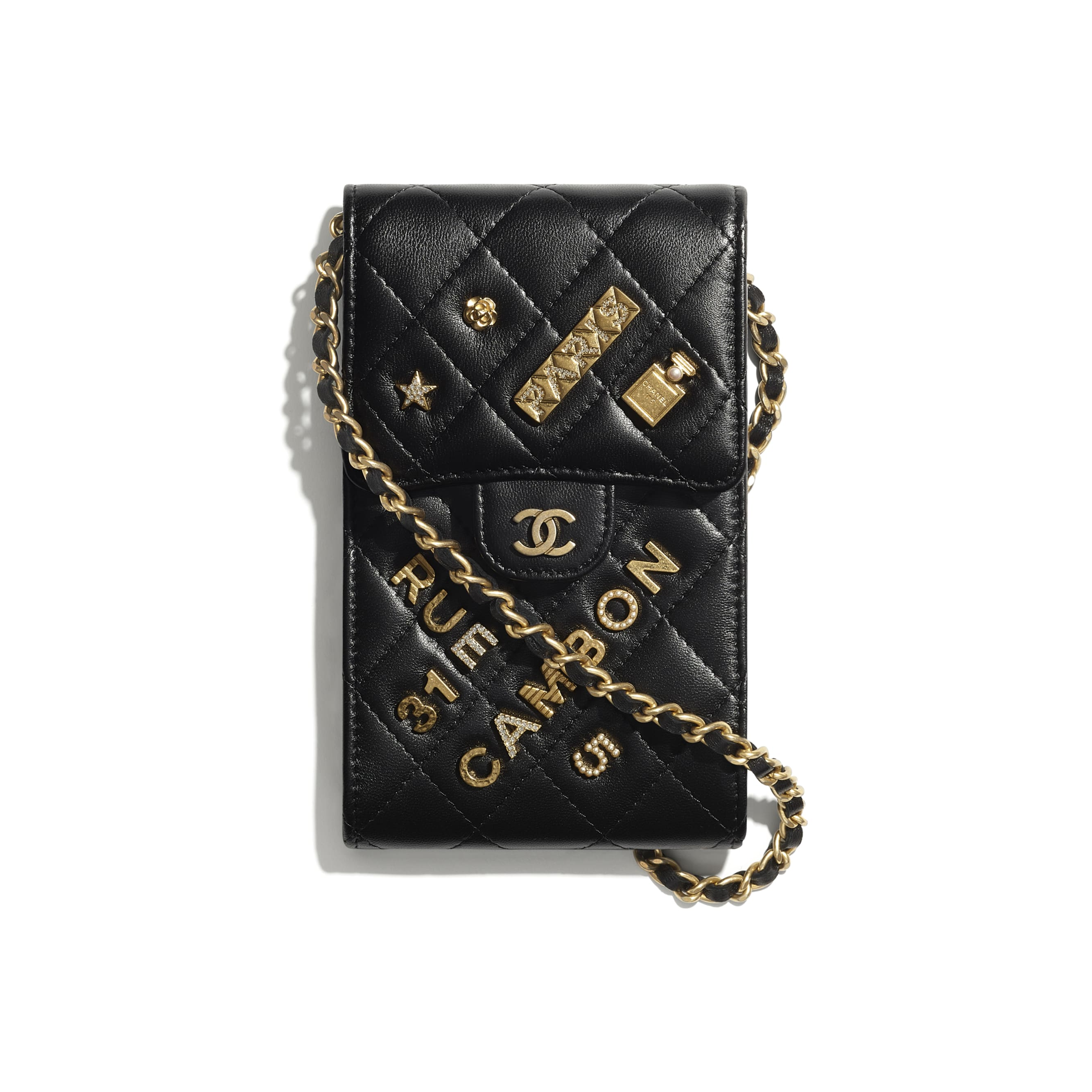 Phone Holder With Chain - Black - Lambskin - CHANEL - Default view - see standard sized version