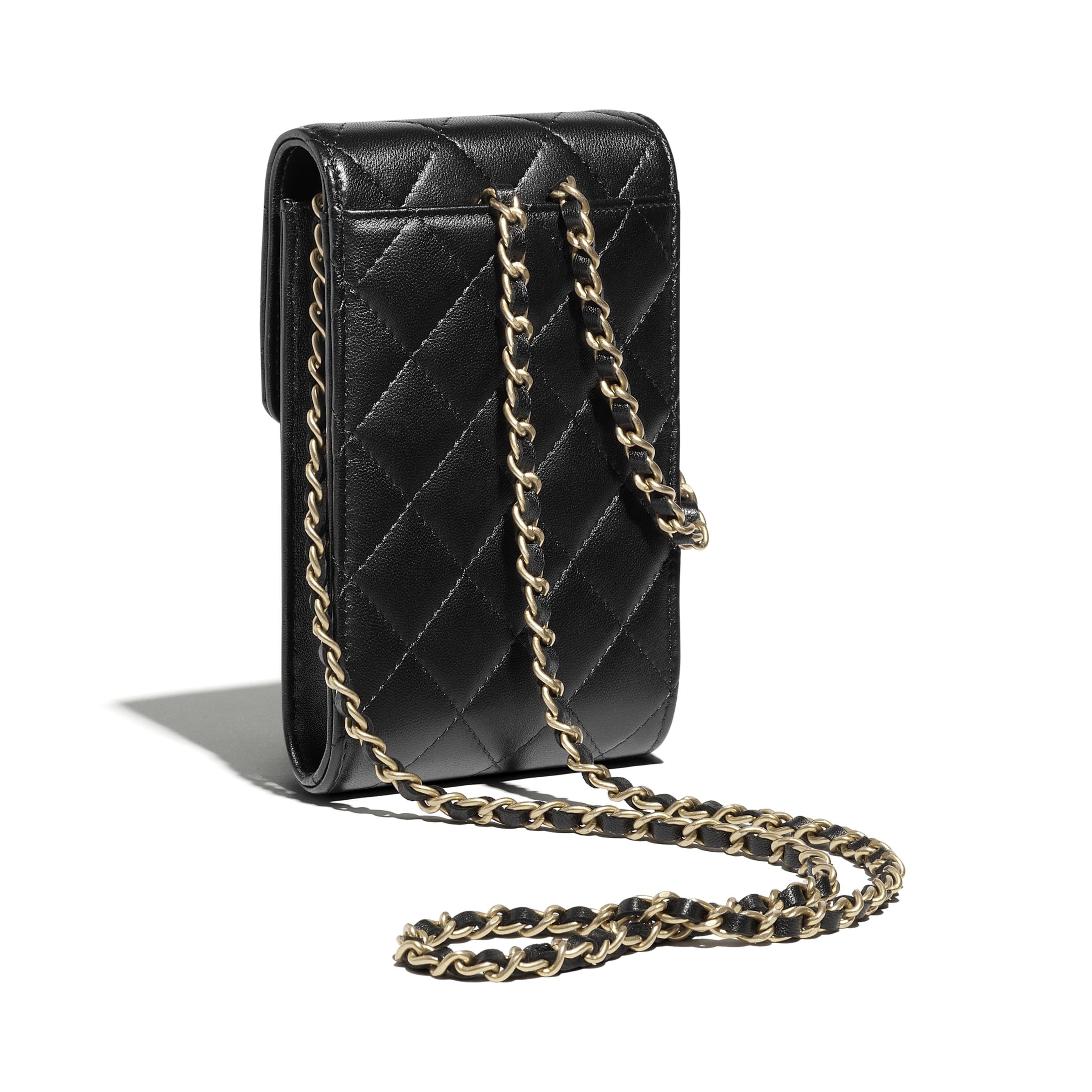 Phone Holder With Chain - Black - Lambskin - CHANEL - Extra view - see standard sized version