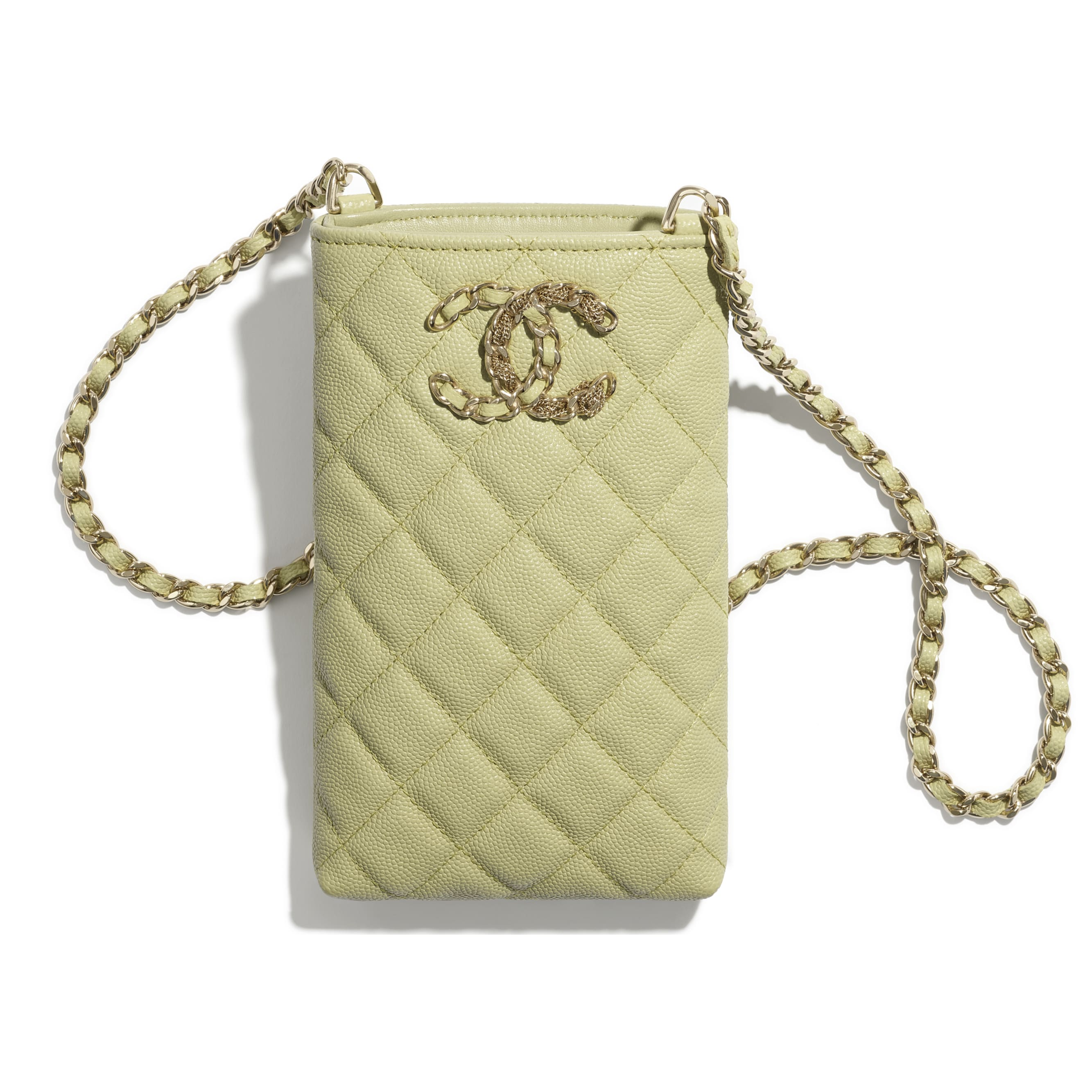Phone Holder With Chain - Green - Grained Calfskin & Gold-Tone Metal - CHANEL - Other view - see standard sized version