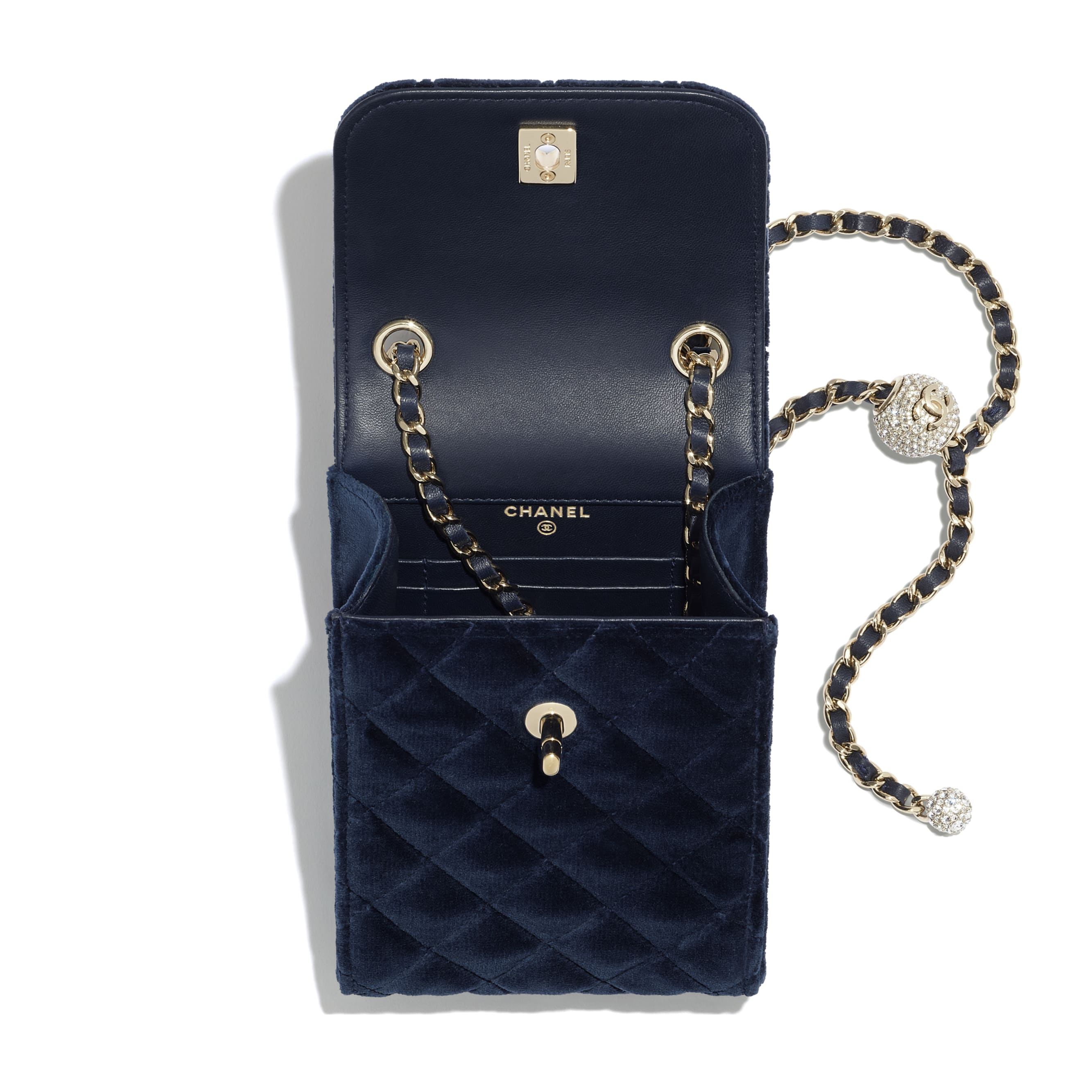 Phone Holder with Chain - Navy Blue - Velvet, Strass & Gold-Tone Metal - CHANEL - Alternative view - see standard sized version