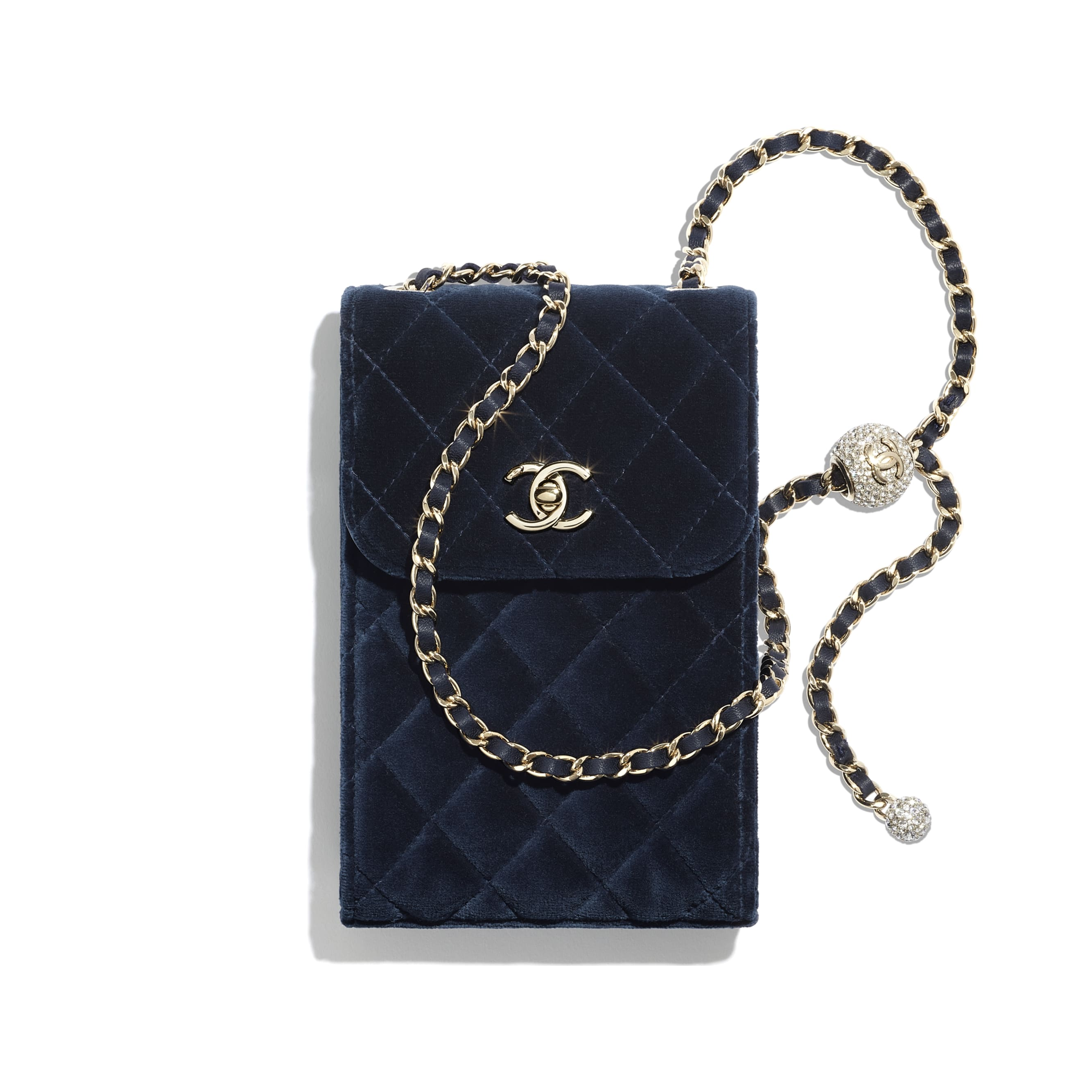 Phone Holder with Chain - Navy Blue - Velvet, Strass & Gold-Tone Metal - CHANEL - Default view - see standard sized version