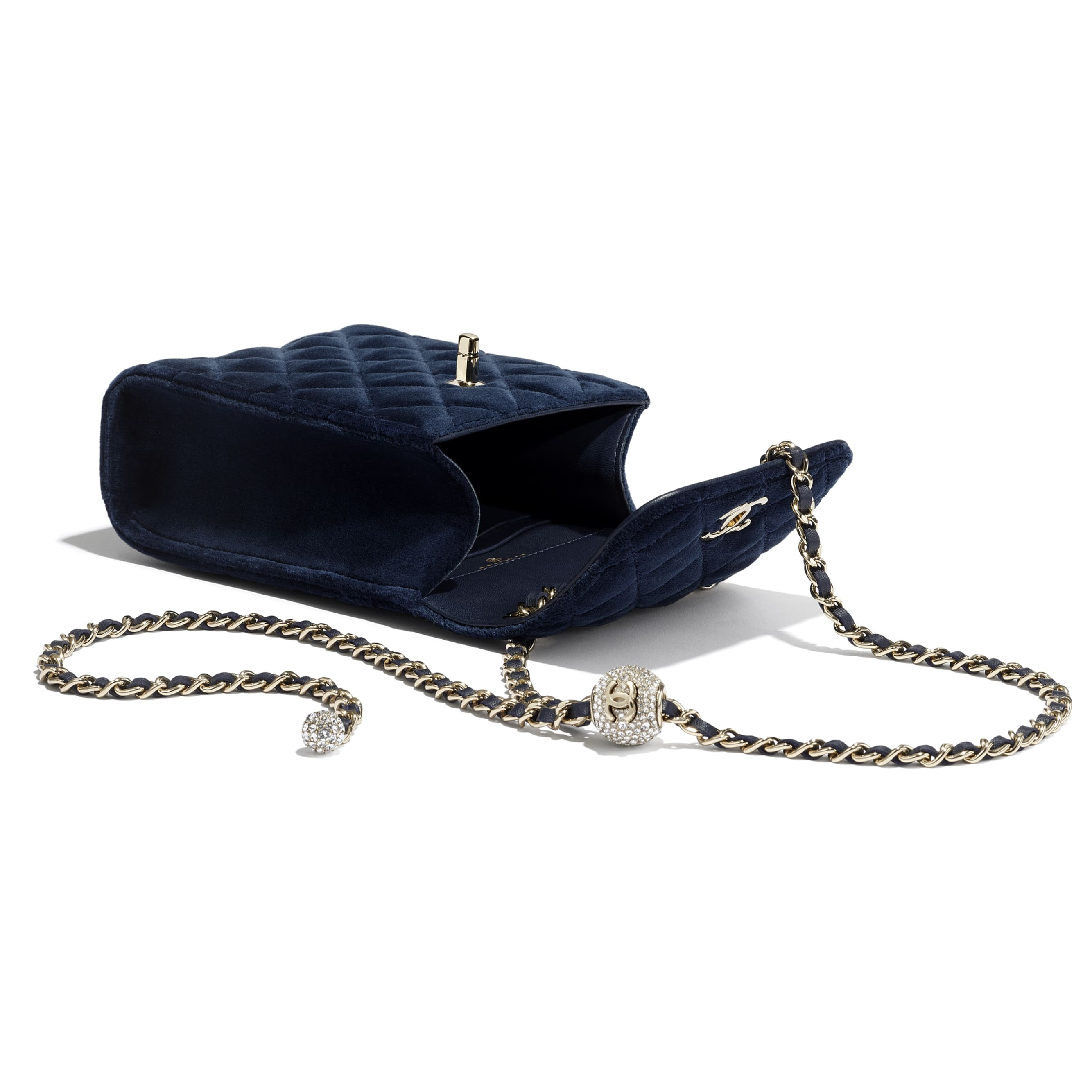 Phone Holder with Chain - Navy Blue - Velvet, Strass & Gold-Tone Metal - CHANEL - Extra view - see standard sized version