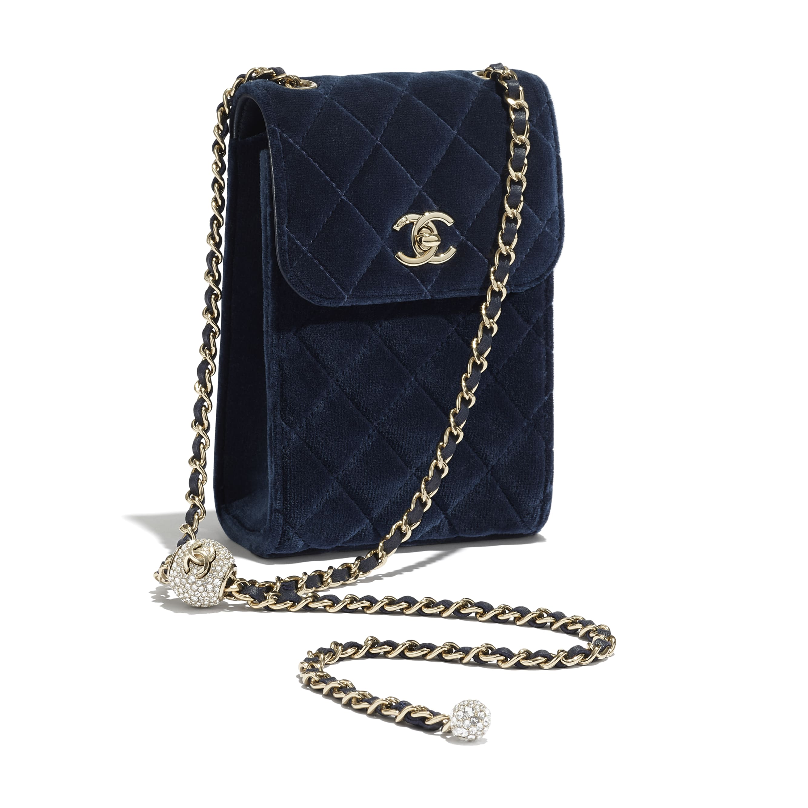 Phone Holder with Chain - Navy Blue - Velvet, Strass & Gold-Tone Metal - CHANEL - Other view - see standard sized version