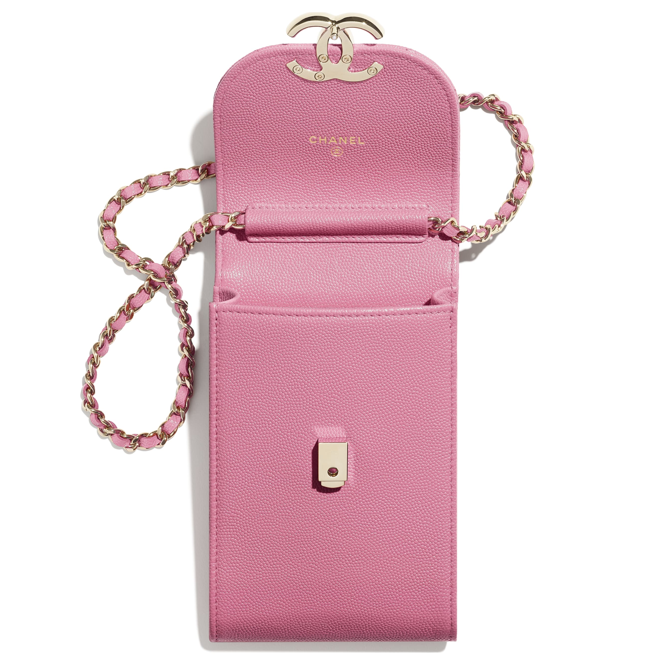 Phone Holder with Chain - Pink - Grained Calfskin & Gold-Tone Metal - CHANEL - Alternative view - see standard sized version