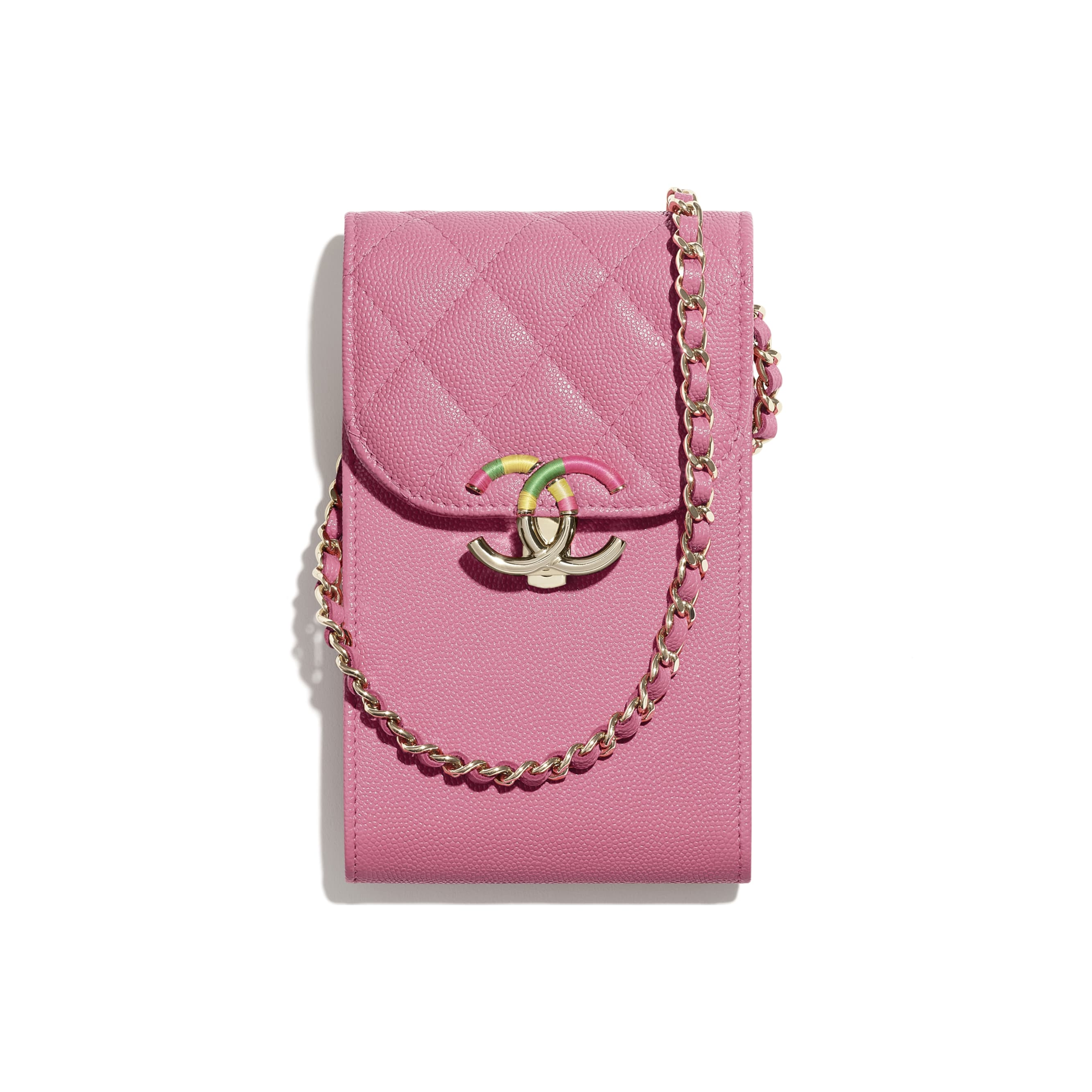 Phone Holder with Chain - Pink - Grained Calfskin & Gold-Tone Metal - CHANEL - Default view - see standard sized version