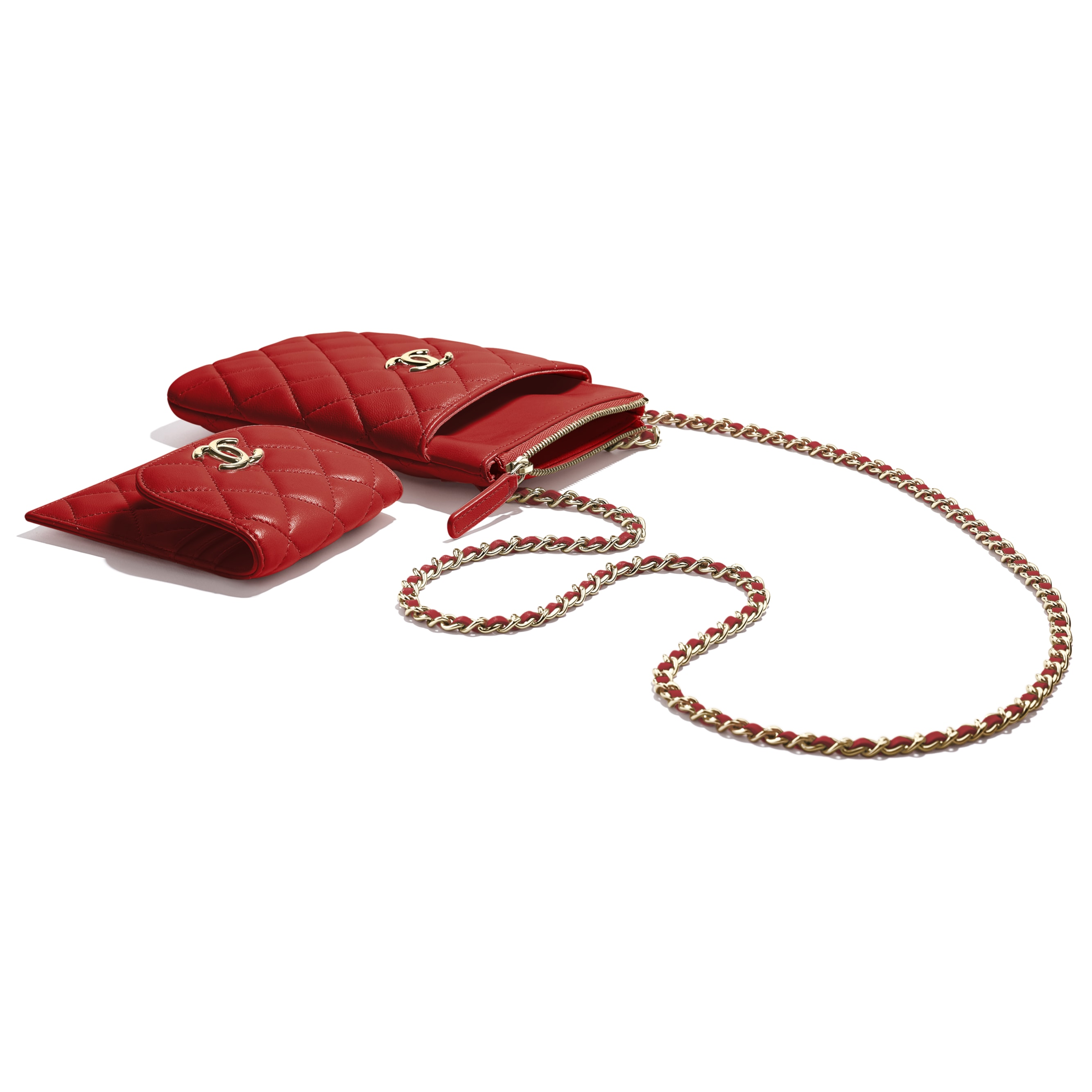 Phone Holder With Chain - Red - Lambskin - Extra view - see standard sized version