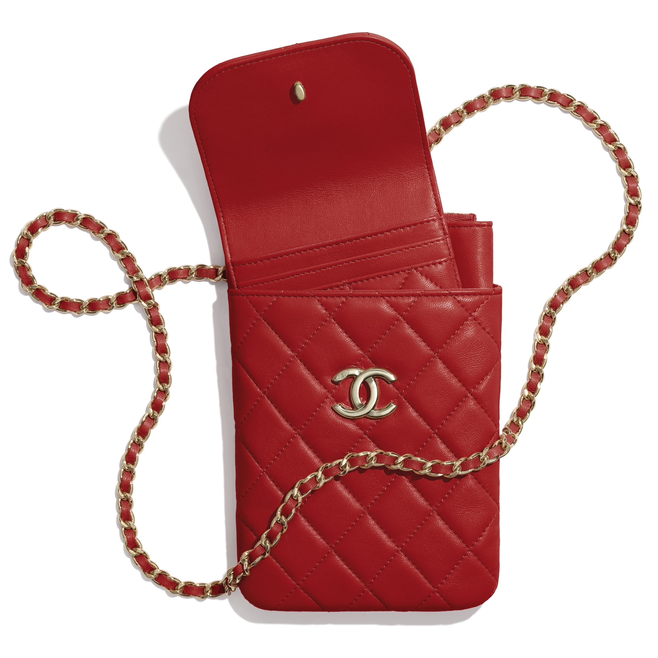 Phone Holder With Chain - Red - Lambskin - Other view - see standard sized version