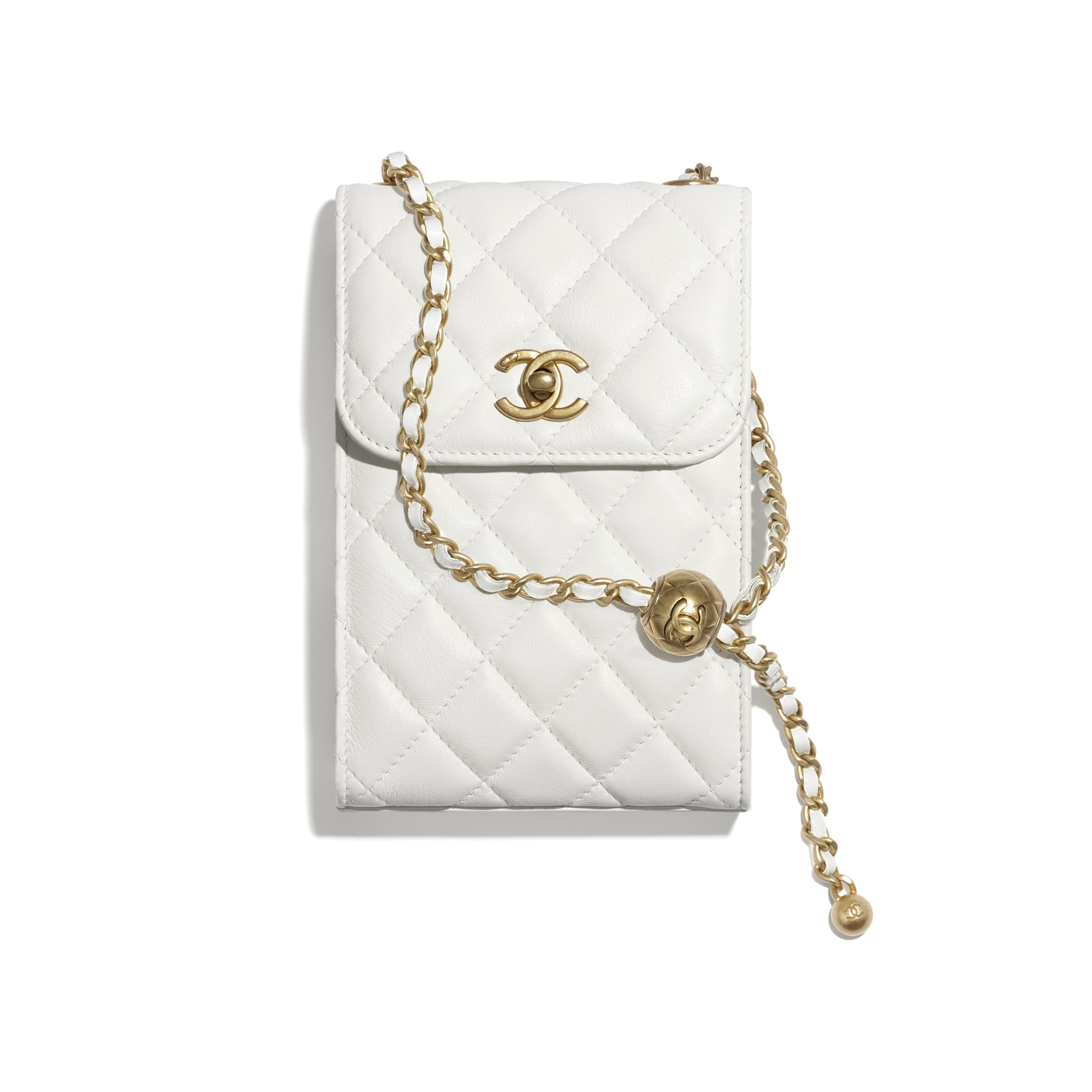 Phone Holder With Chain - White - Lambskin - CHANEL - Default view - see standard sized version