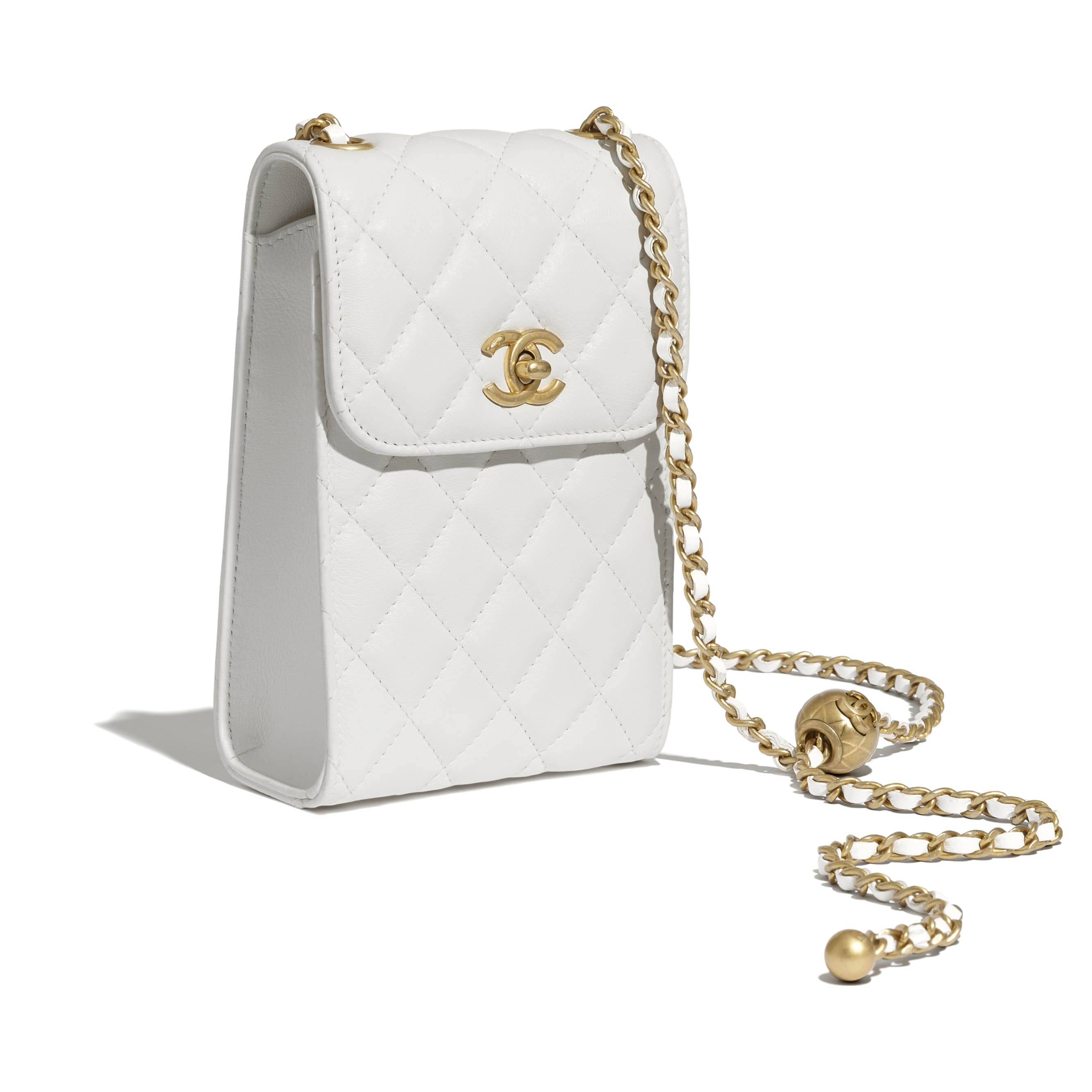 Phone Holder With Chain - White - Lambskin - CHANEL - Extra view - see standard sized version