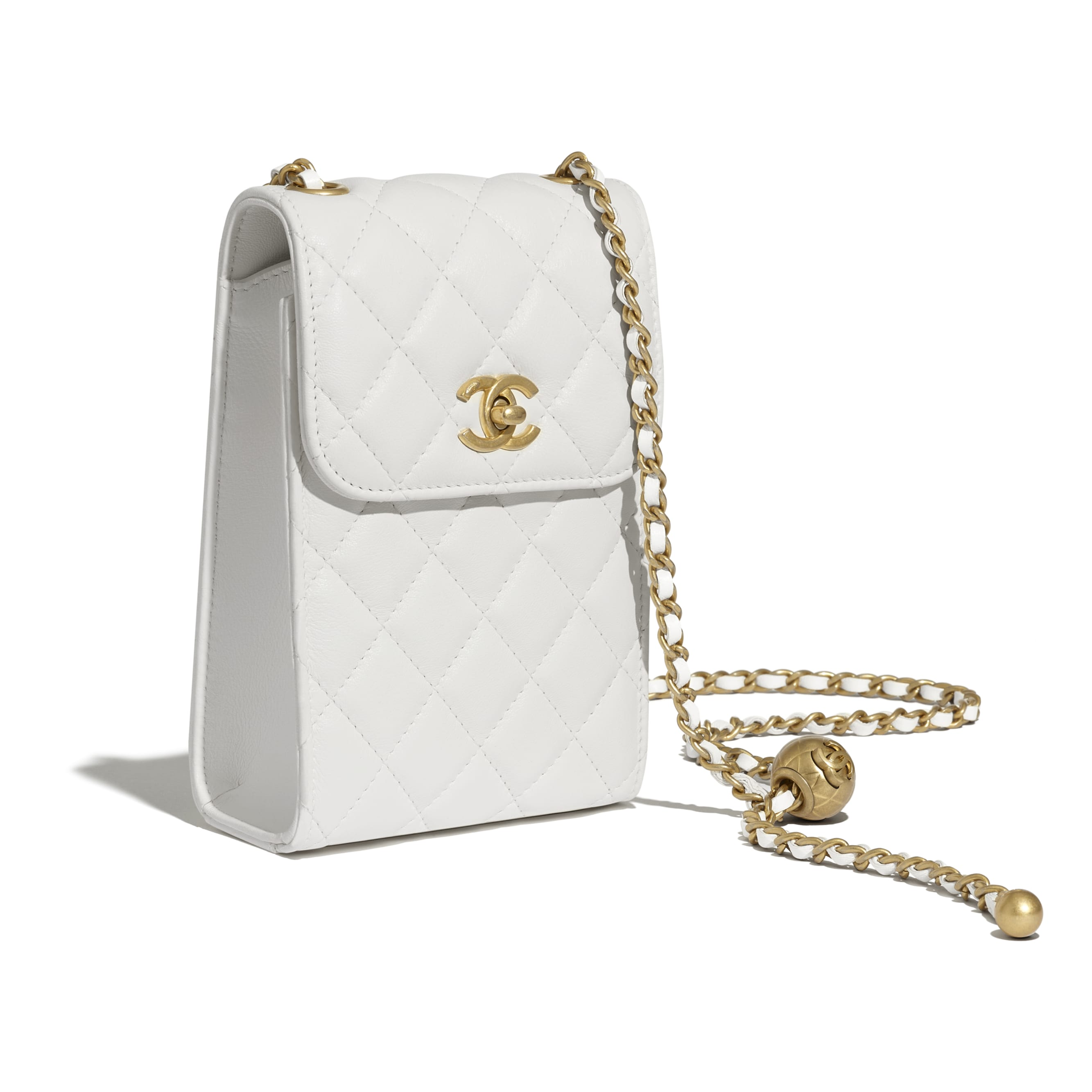 Phone Holder With Chain - White - Lambskin - CHANEL - Other view - see standard sized version