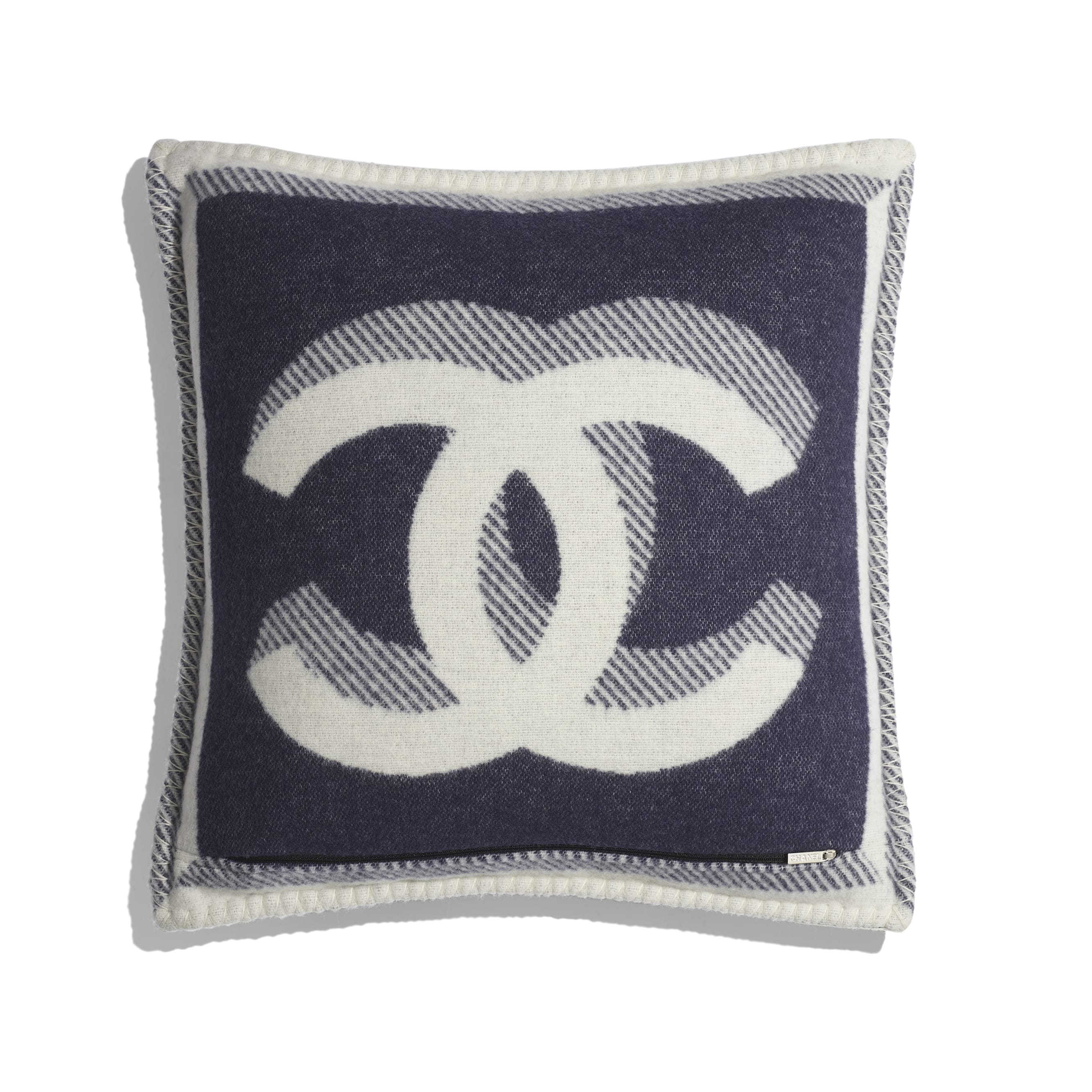 Pillow - Ivory & Navy Blue - Wool & Cashmere - Alternative view - see standard sized version