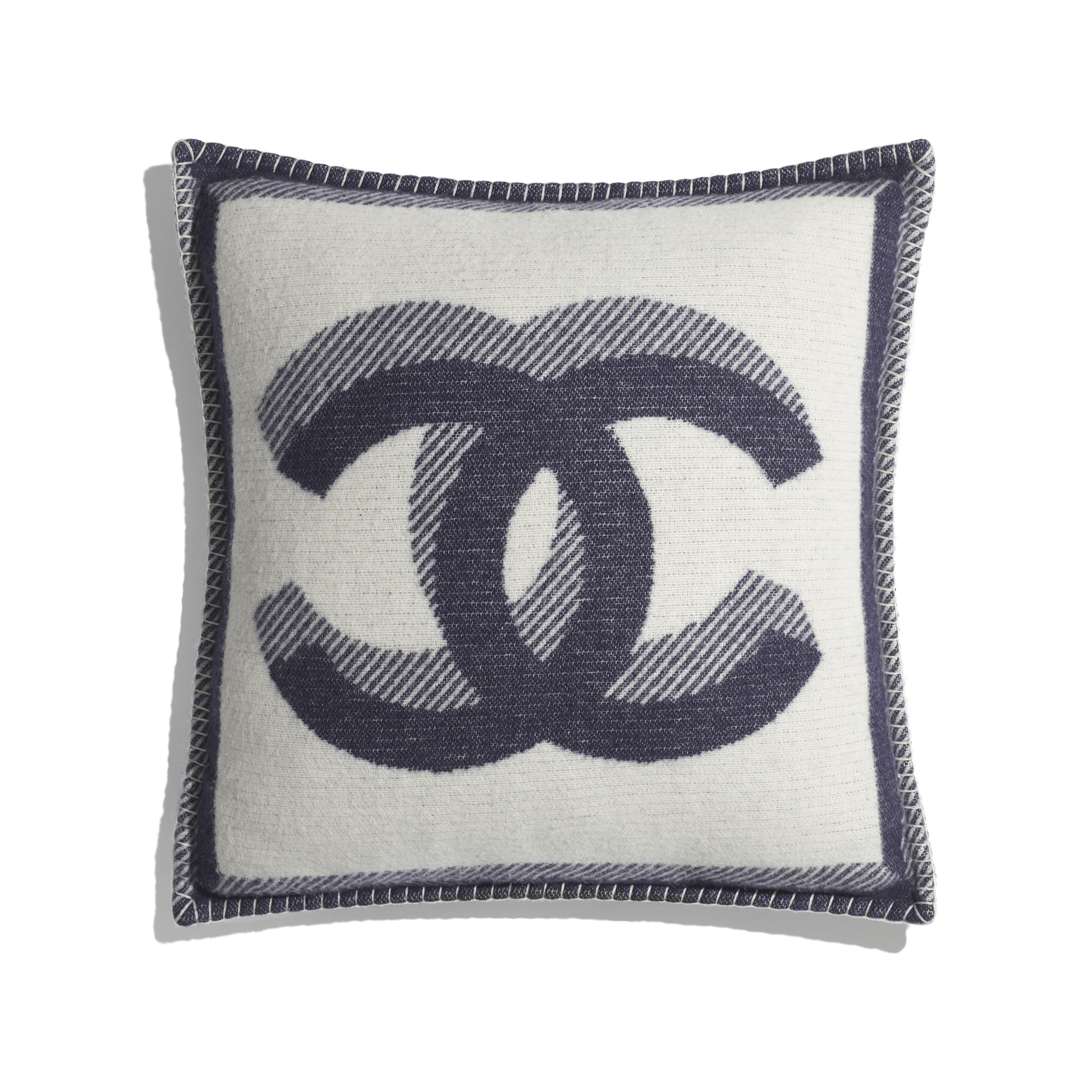 Pillow - Ivory & Navy Blue - Wool & Cashmere - Default view - see standard sized version