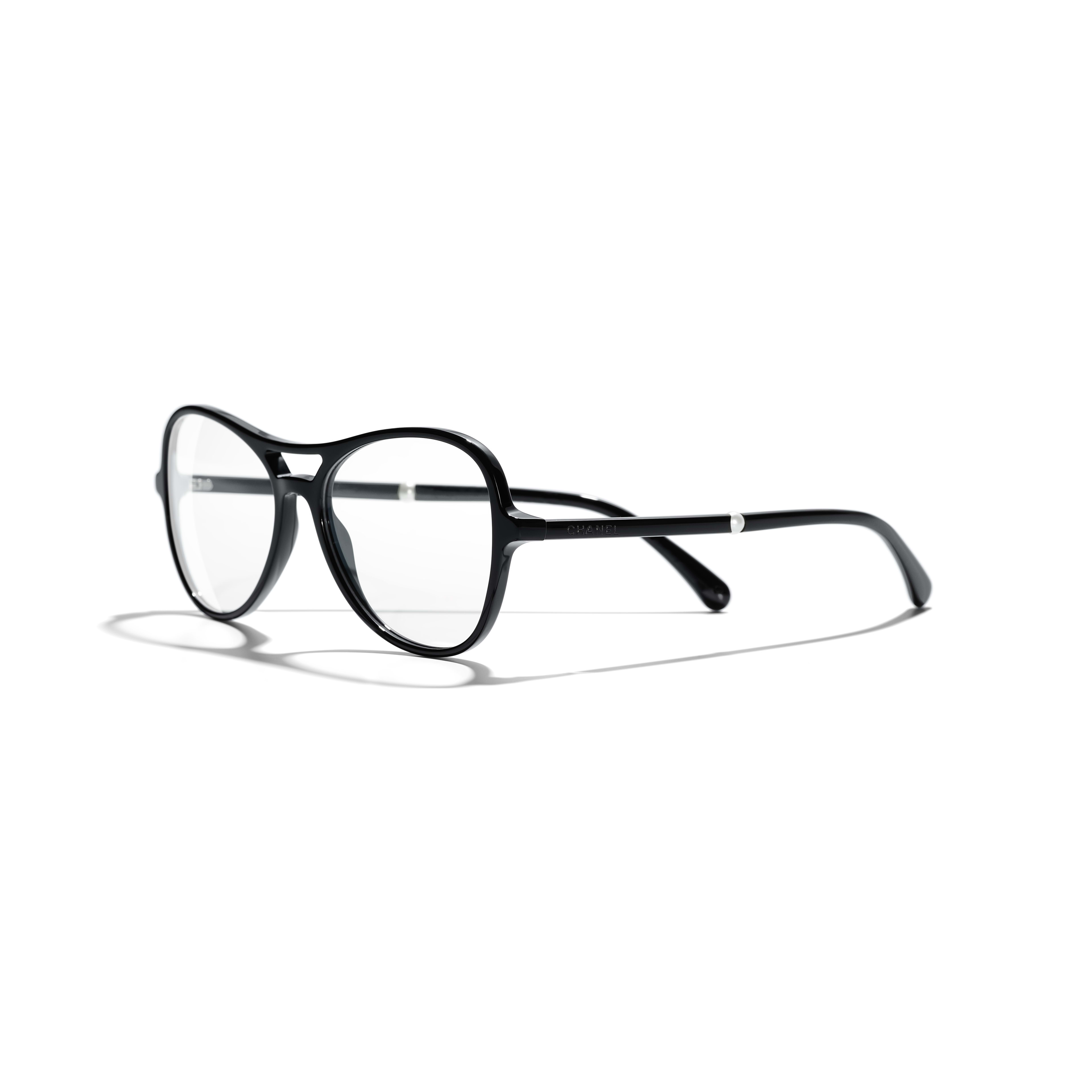 Pilot Eyeglasses - Black - Acetate & Imitation Pearls - Extra view - see standard sized version