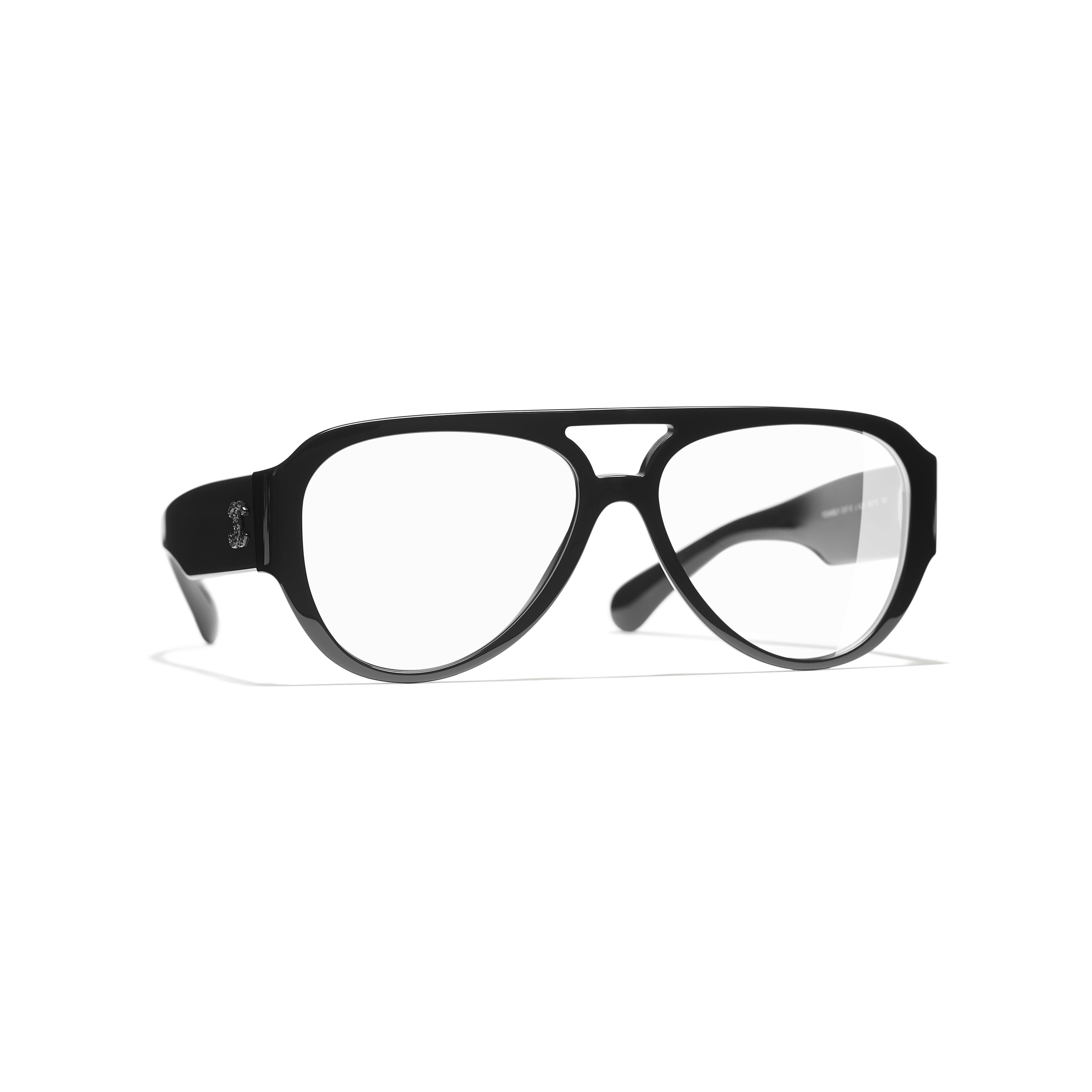 Pilot Eyeglasses - Black - Acetate & Strass - CHANEL - Default view - see standard sized version