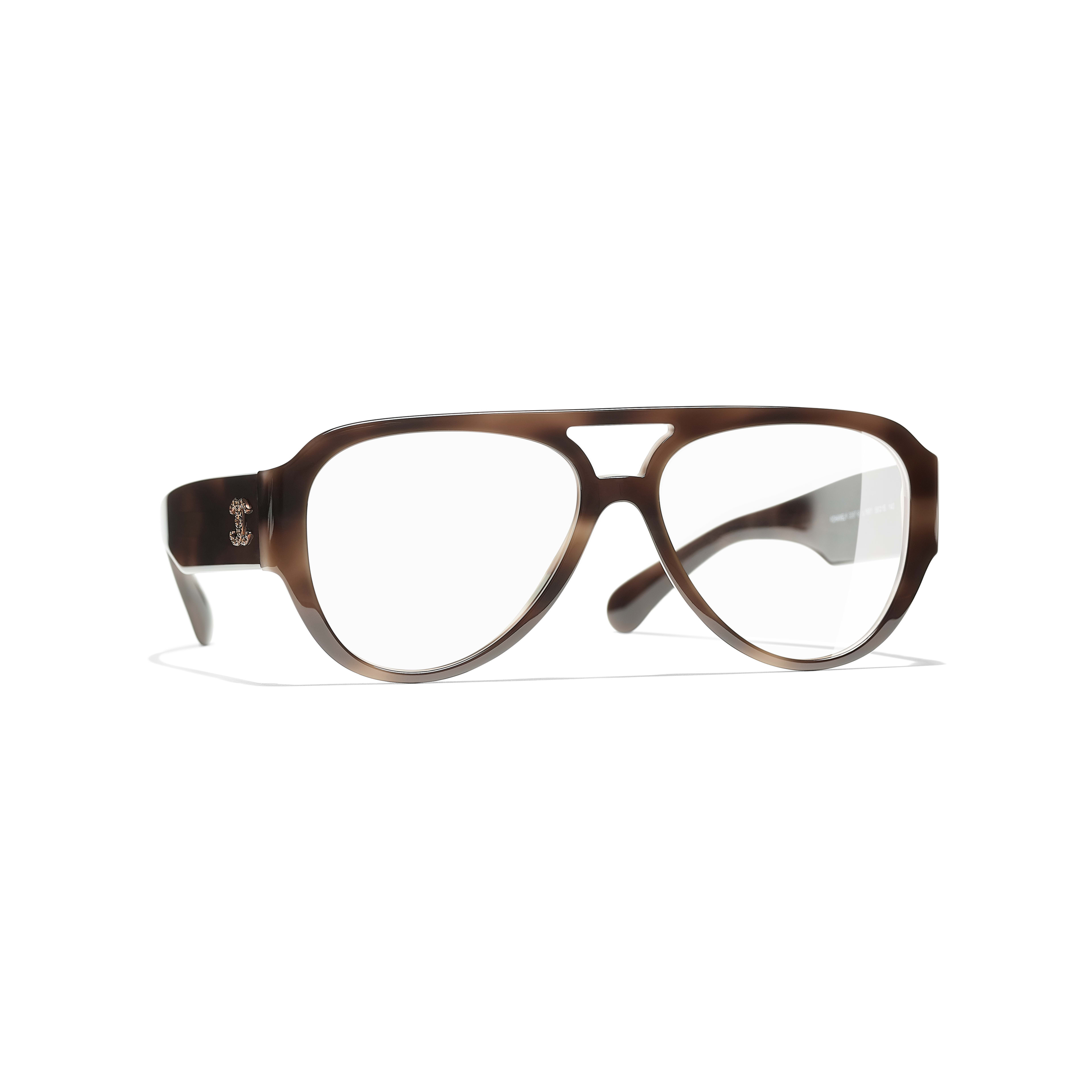 Pilot Eyeglasses - Brown - Acetate & Diamanté - Default view - see standard sized version