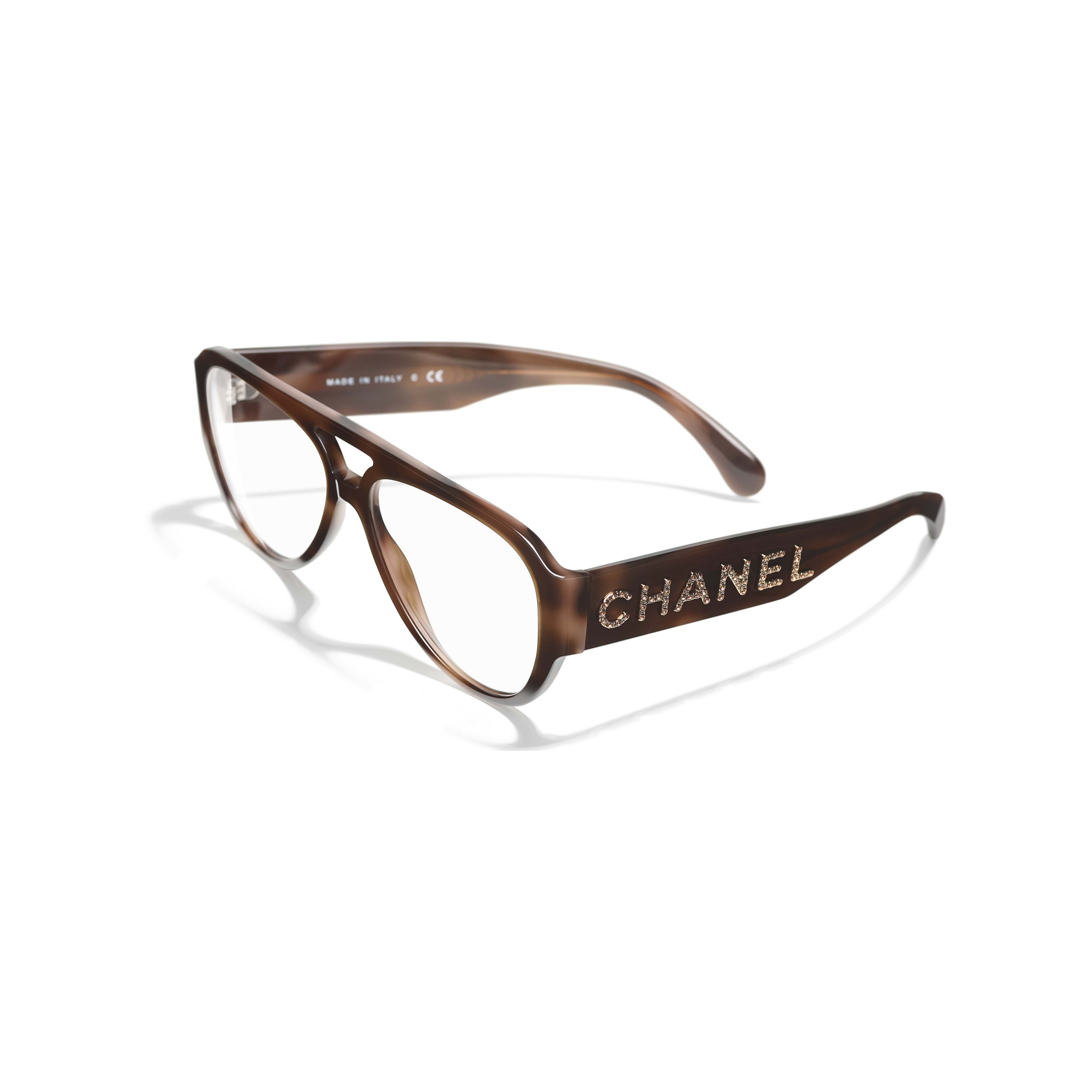 Pilot Eyeglasses - Brown - Acetate & Diamanté - Extra view - see standard sized version