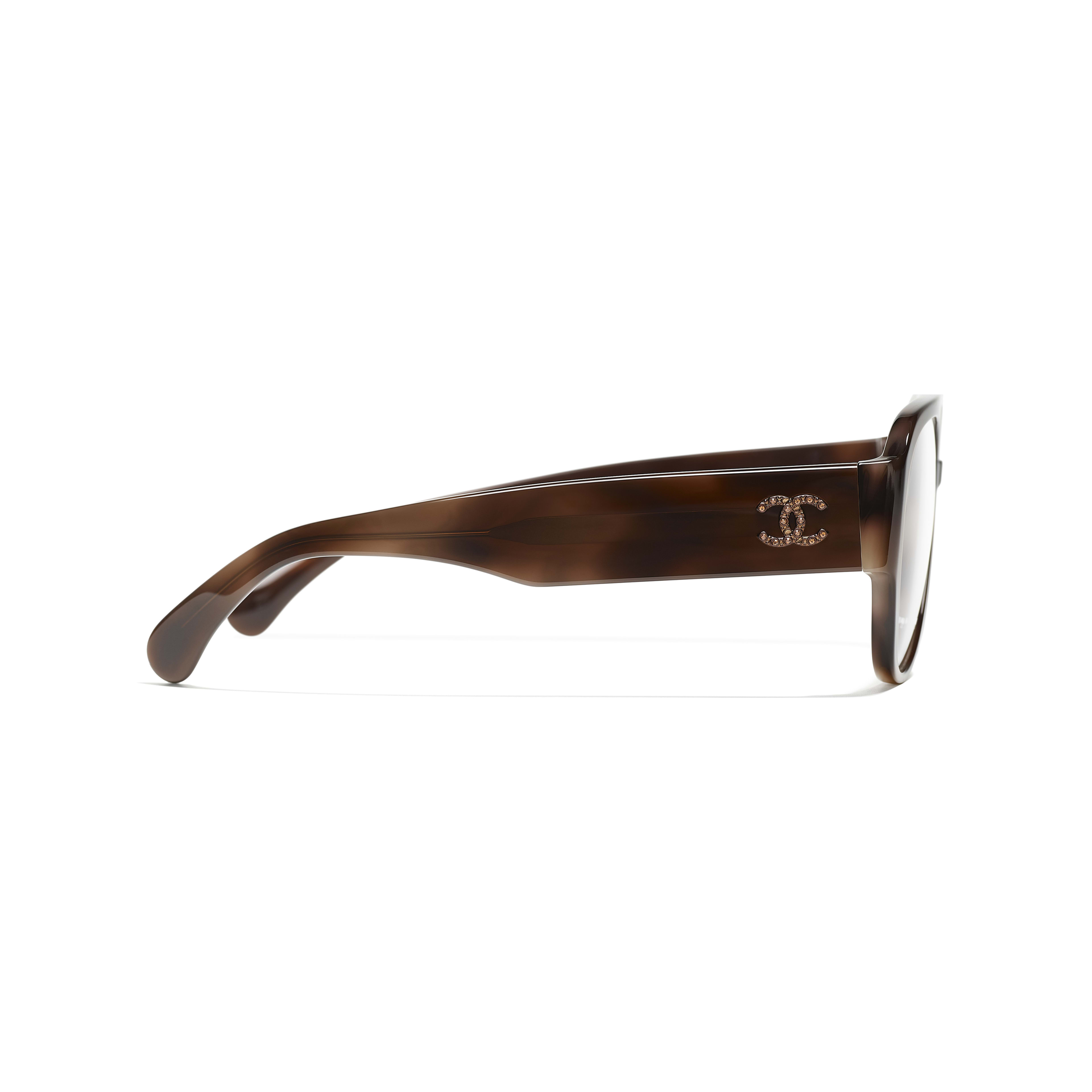 Pilot Eyeglasses - Brown - Acetate & Diamanté - Other view - see standard sized version