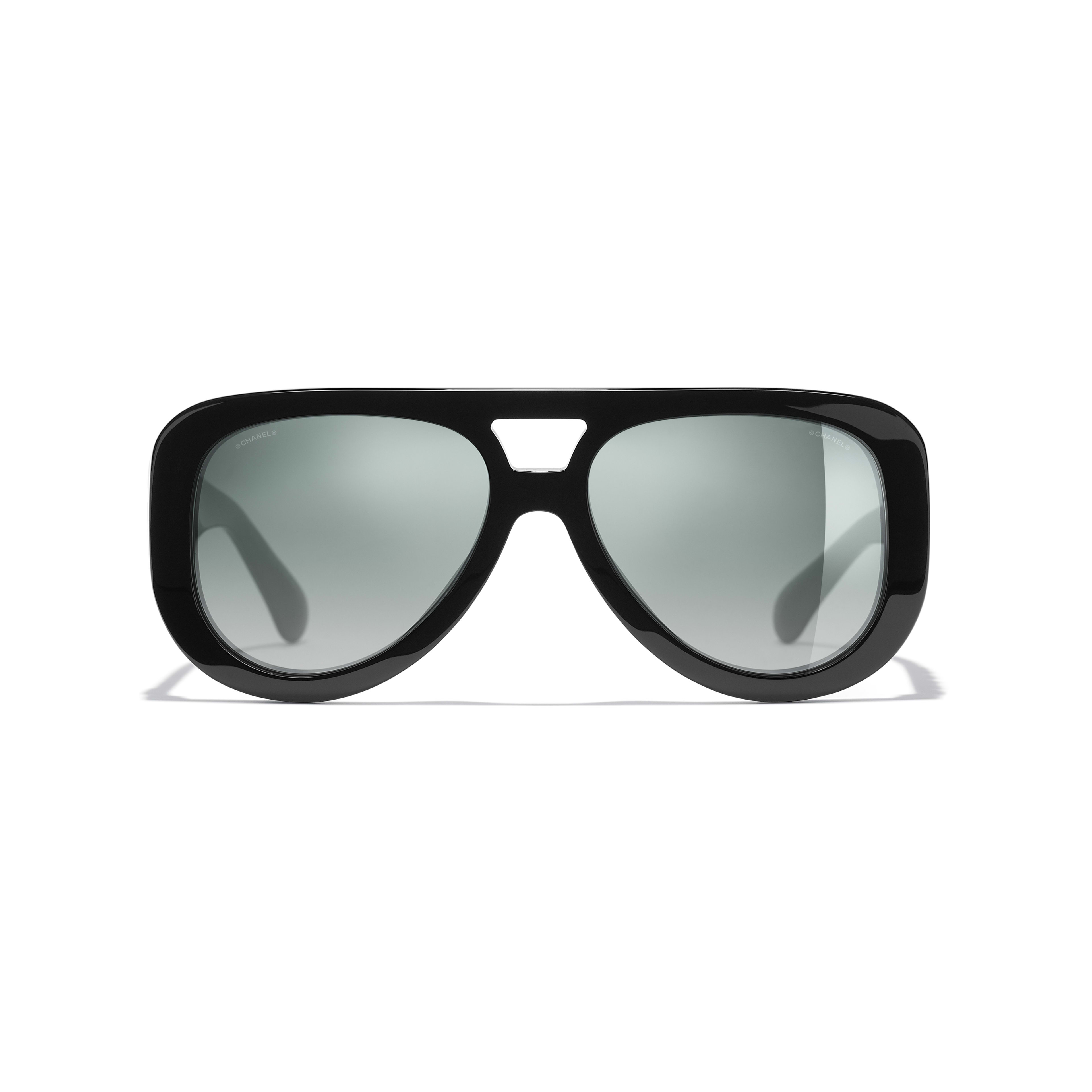 Pilot Sunglasses - Black - Acetate & Diamanté - CHANEL - Alternative view - see standard sized version