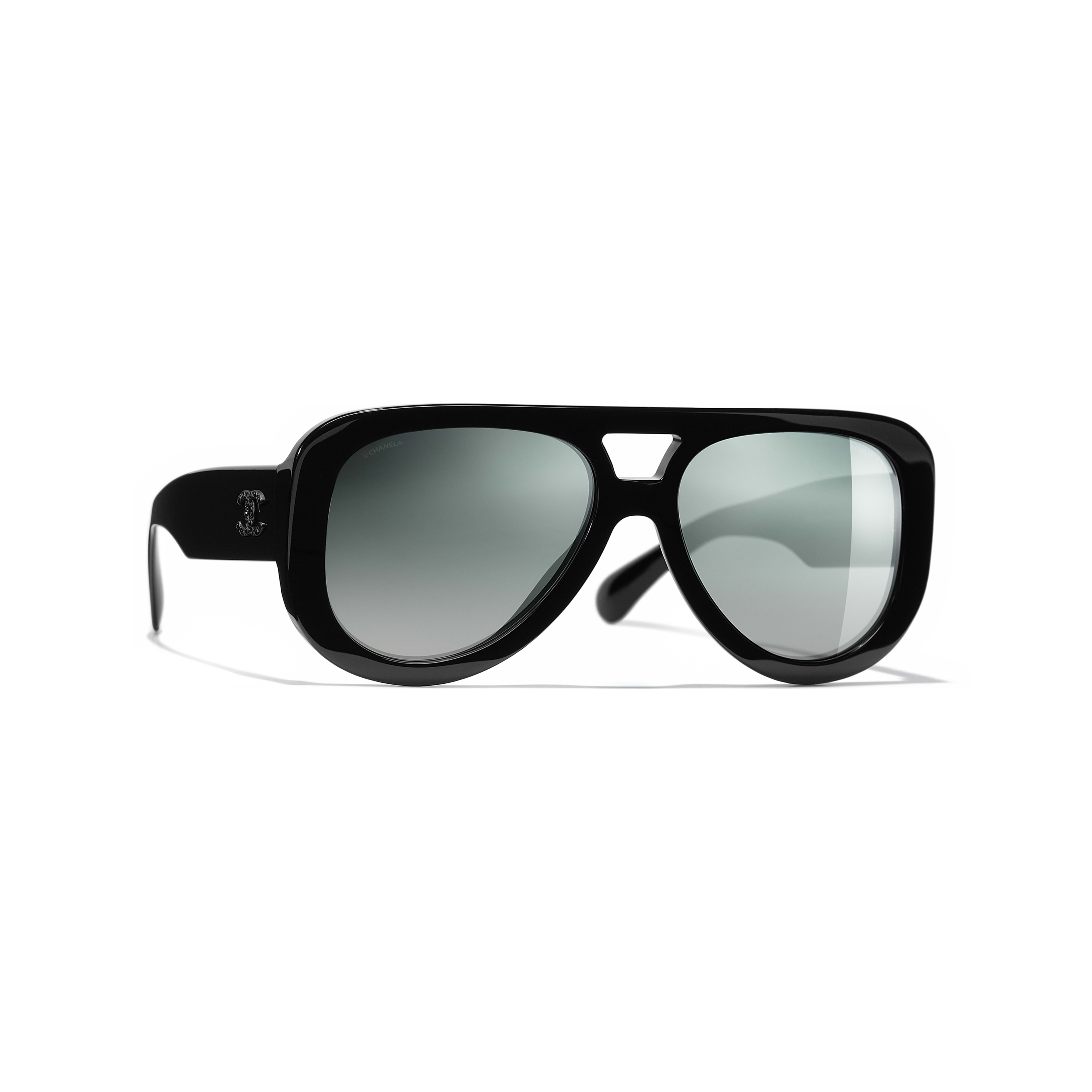 Pilot Sunglasses - Black - Acetate & Diamanté - CHANEL - Default view - see standard sized version