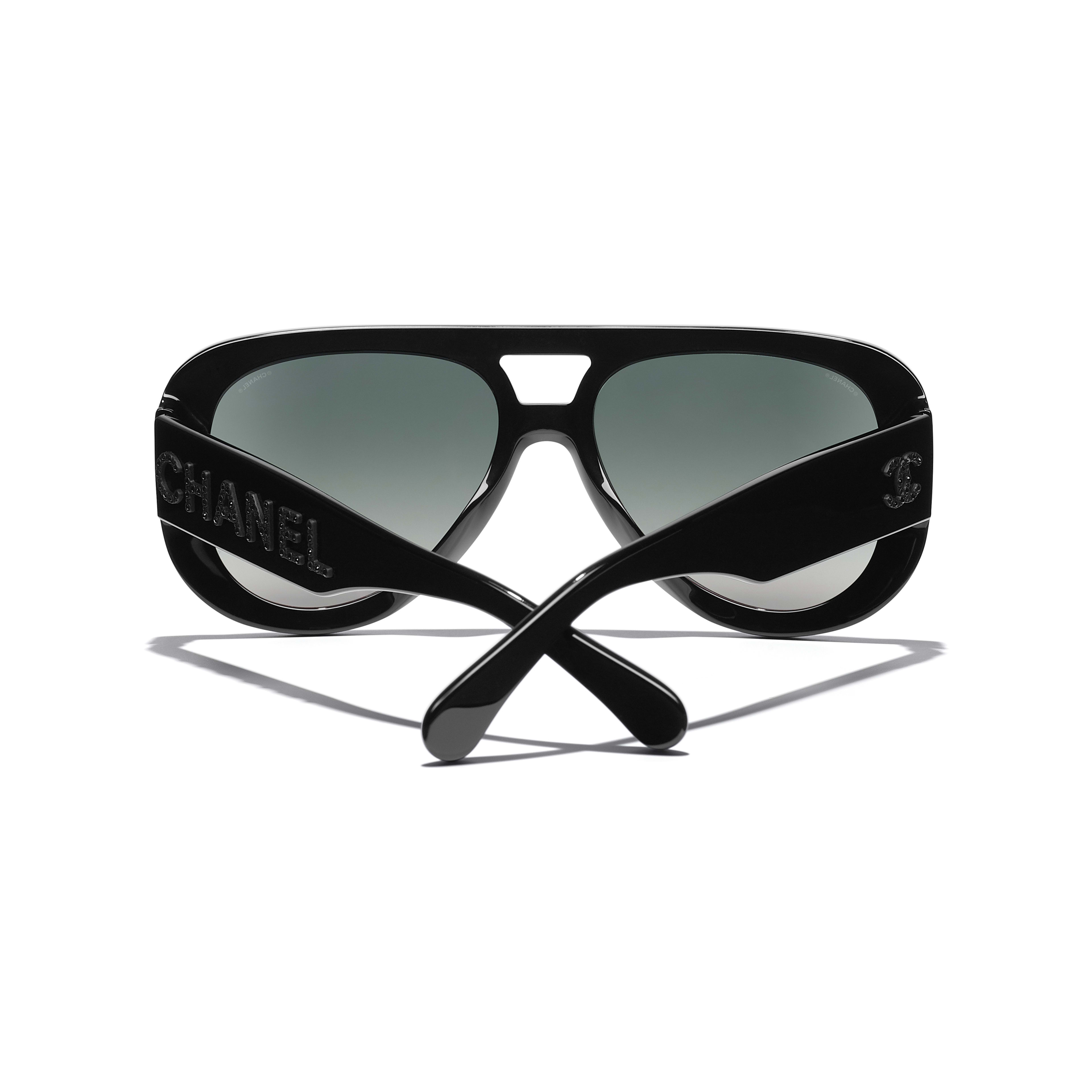 Pilot Sunglasses - Black - Acetate & Diamanté - CHANEL - Extra view - see standard sized version