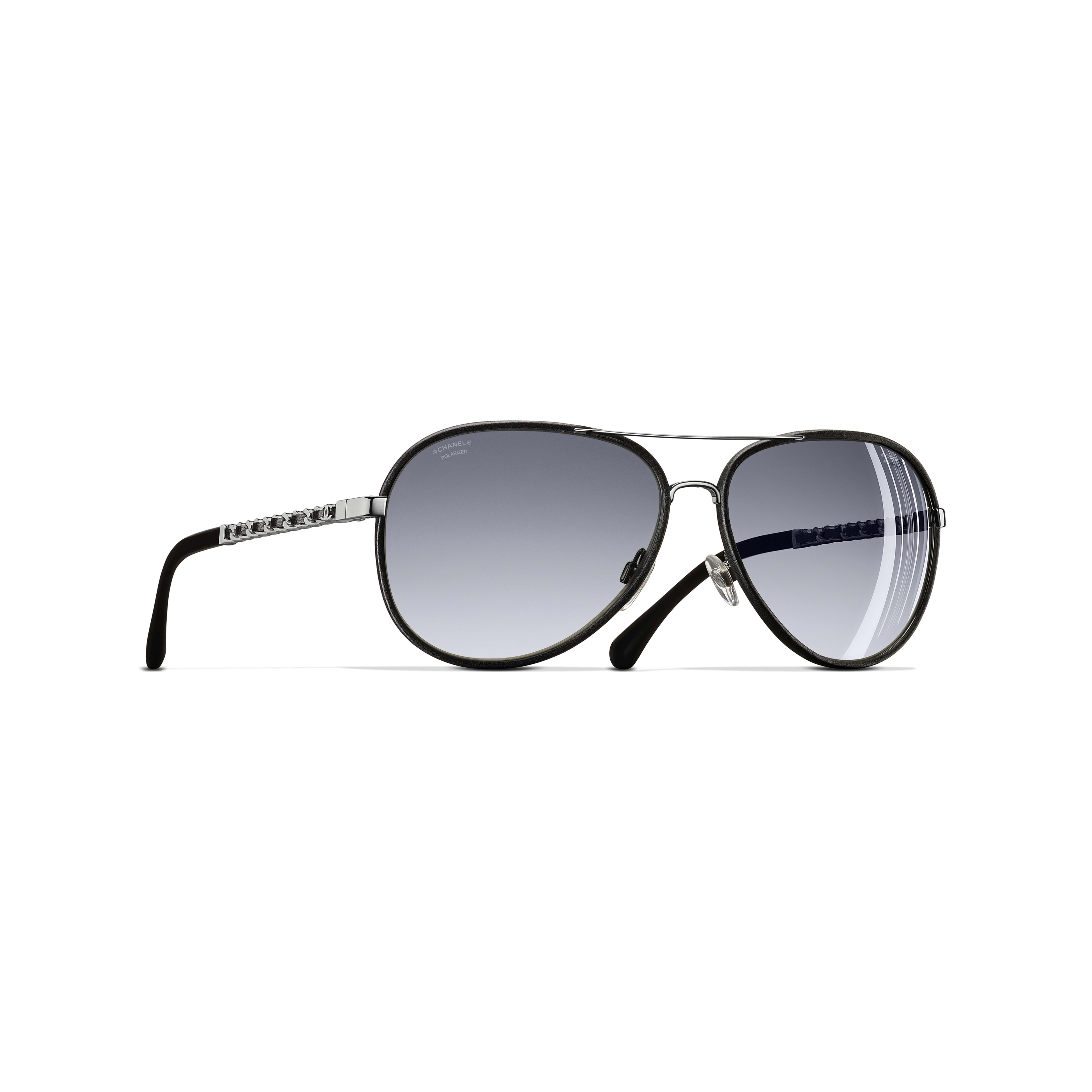 Pilot Sunglasses - Black - Metal & Calfskin - Polarised Lenses - CHANEL - Default view - see standard sized version