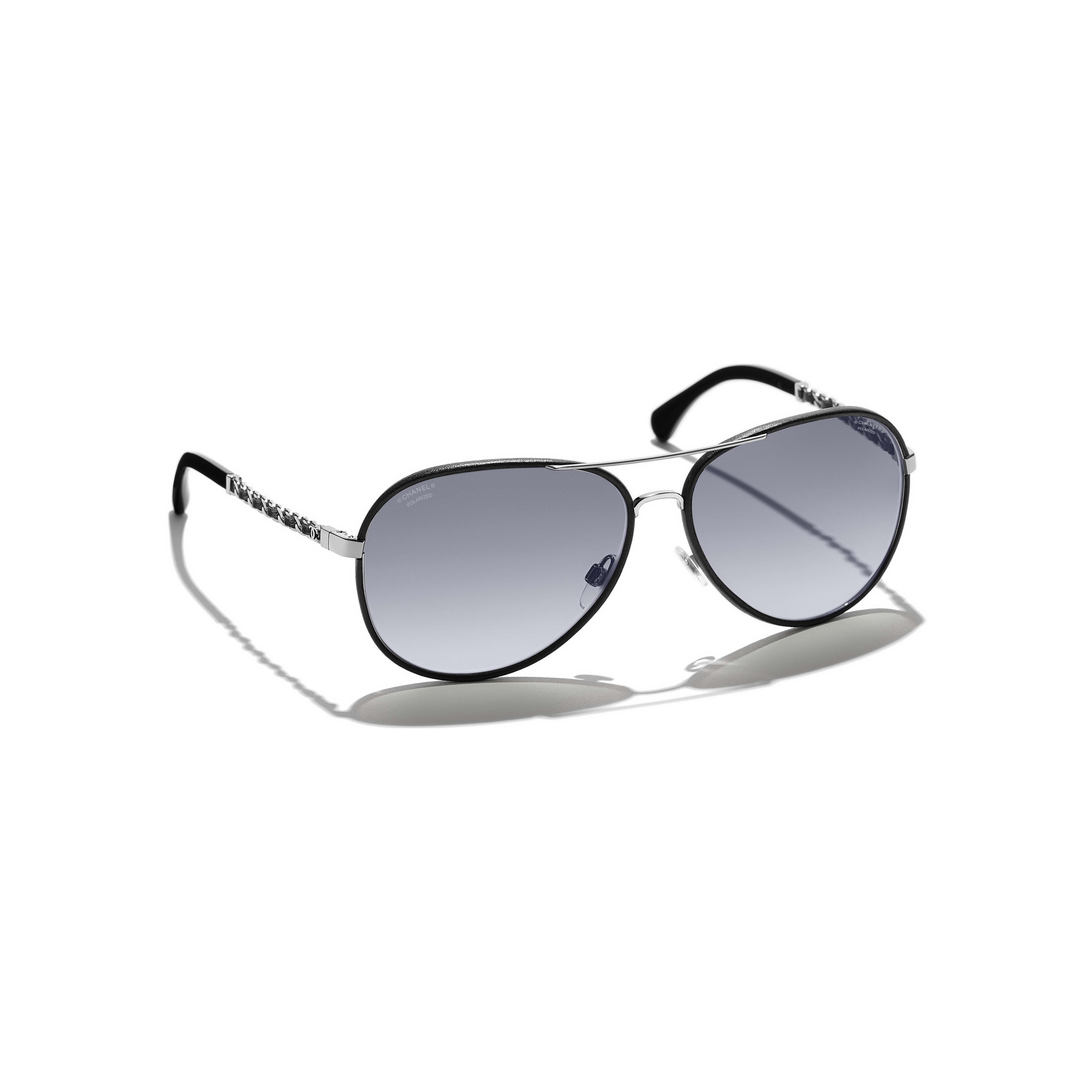 Pilot Sunglasses - Black - Metal & Calfskin - Polarized Lenses - Extra view - see standard sized version