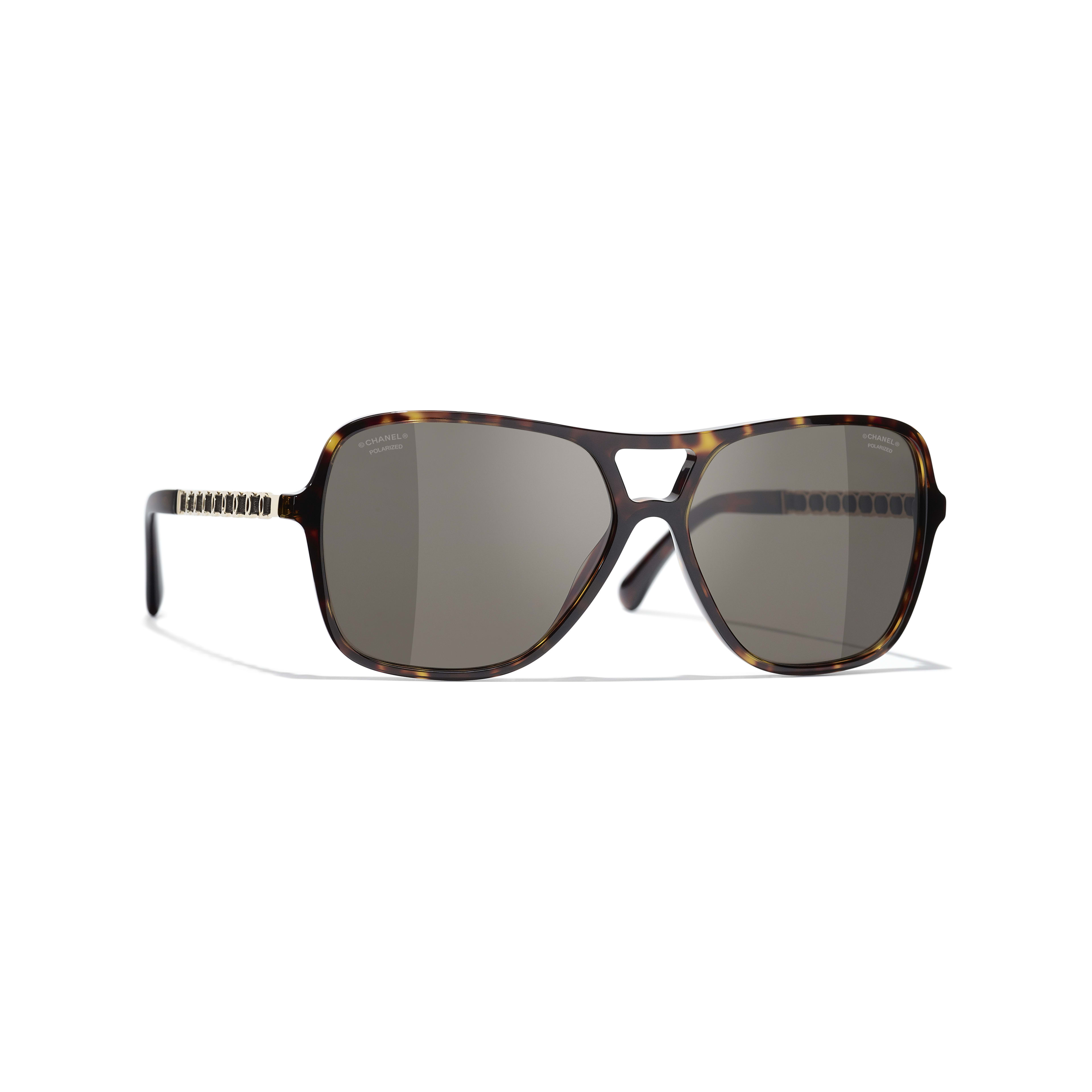 Pilot Sunglasses - Dark Tortoise - Metal & Lambskin - CHANEL - Default view - see standard sized version