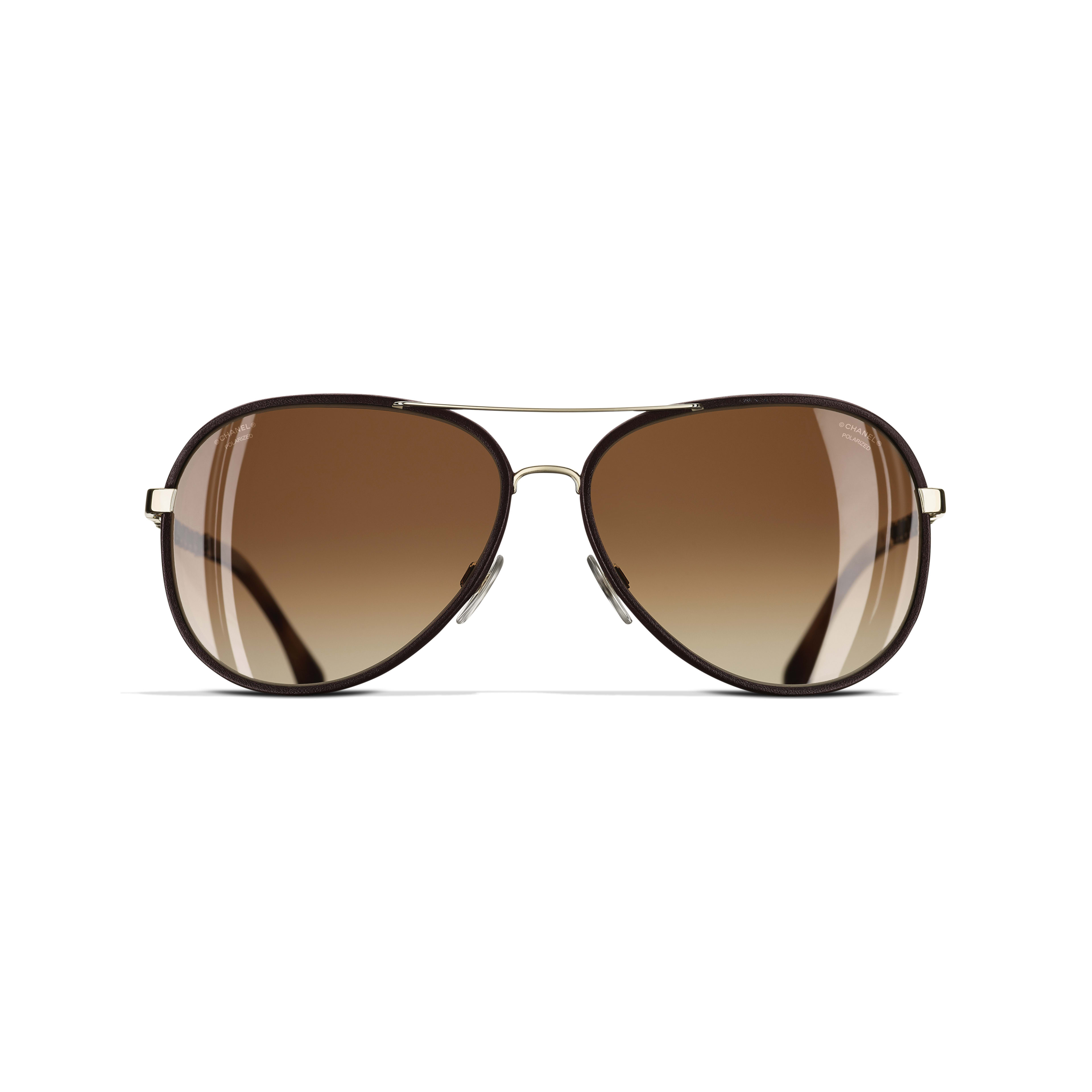 Pilot Sunglasses - Gold & Brown - Metal & Calfskin - CHANEL - Alternative view - see standard sized version