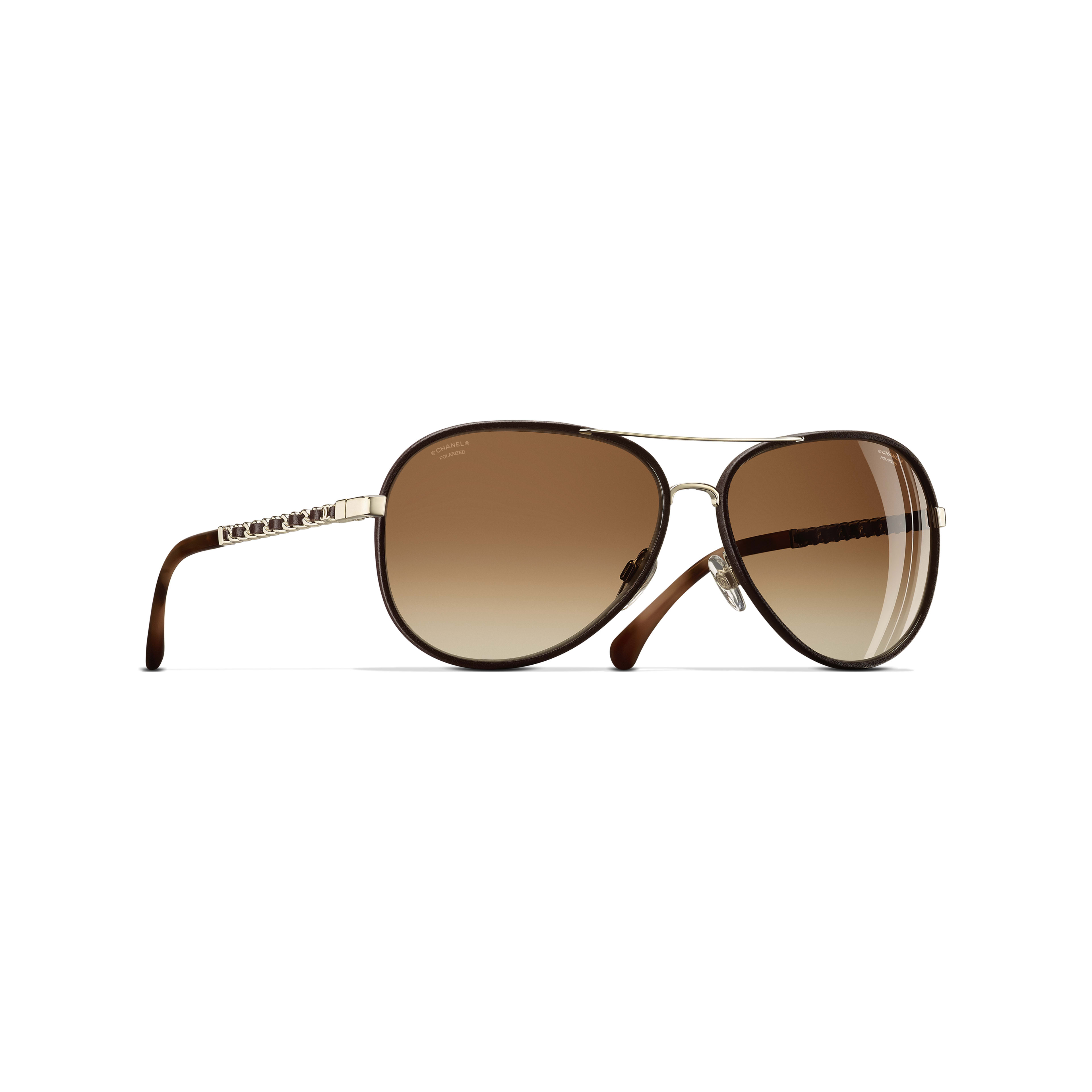Pilot Sunglasses - Gold & Brown - Metal & Calfskin - CHANEL - Default view - see standard sized version