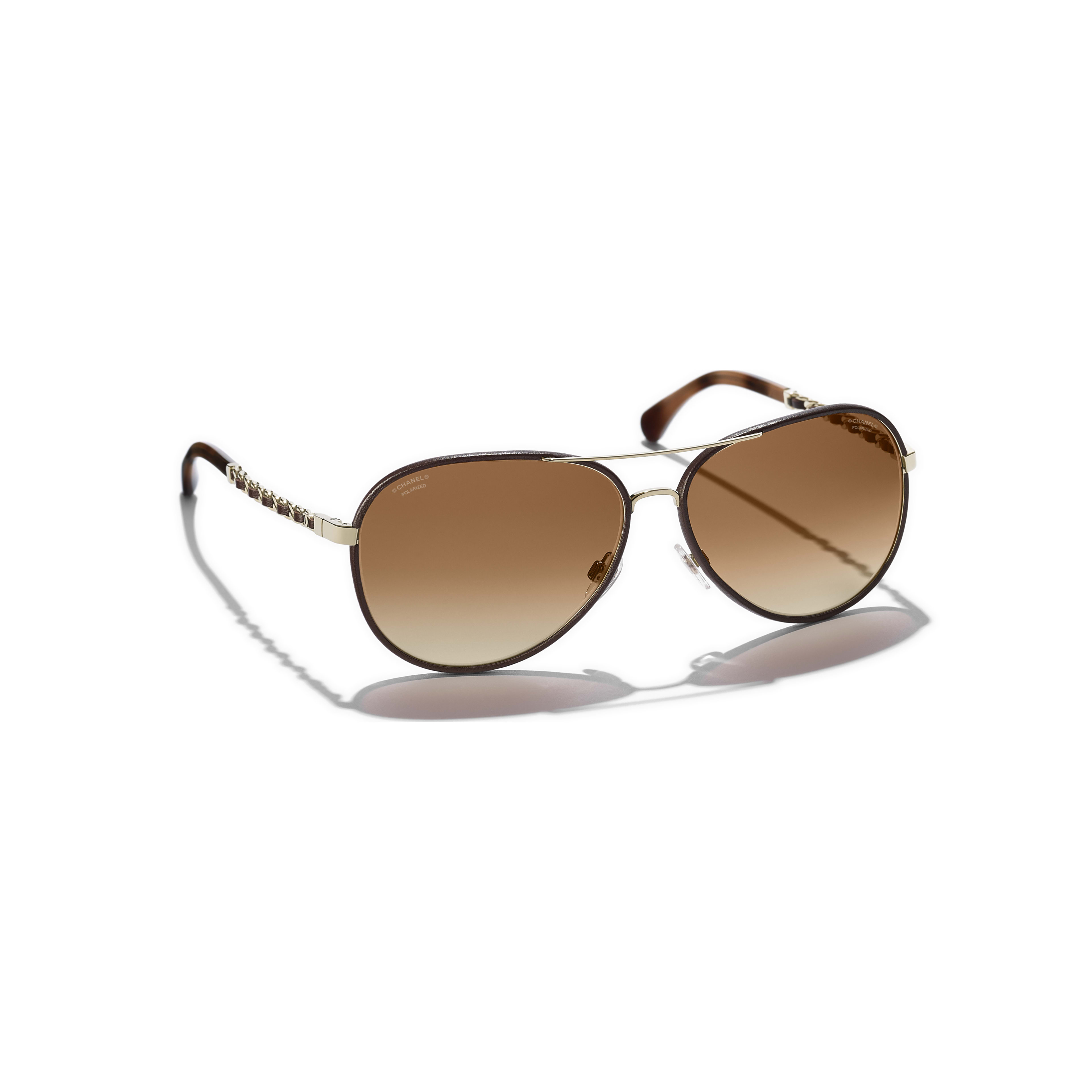 Pilot Sunglasses - Gold & Brown - Metal & Calfskin - CHANEL - Extra view - see standard sized version