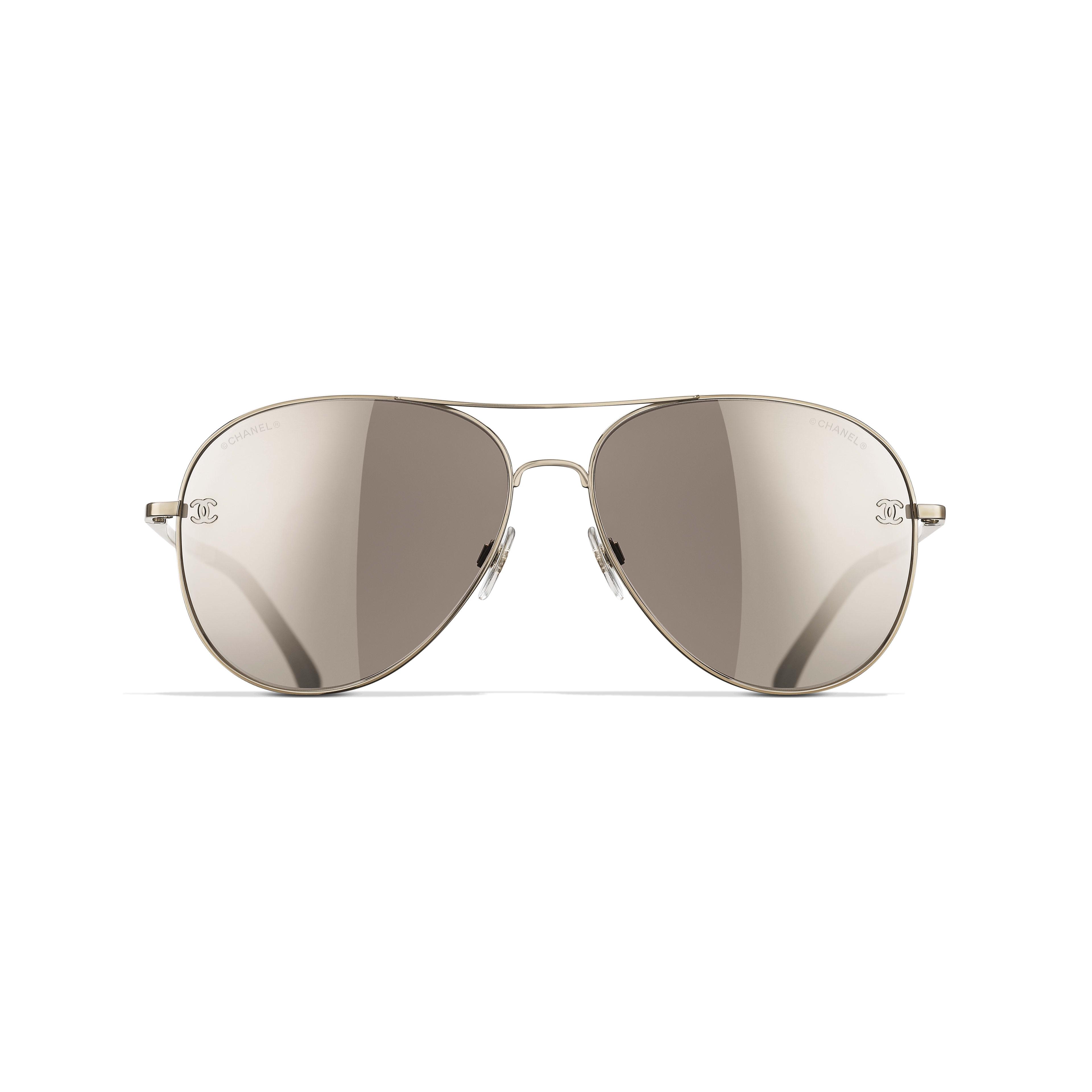 Pilot Sunglasses Gold Brown Eyewear Chanel