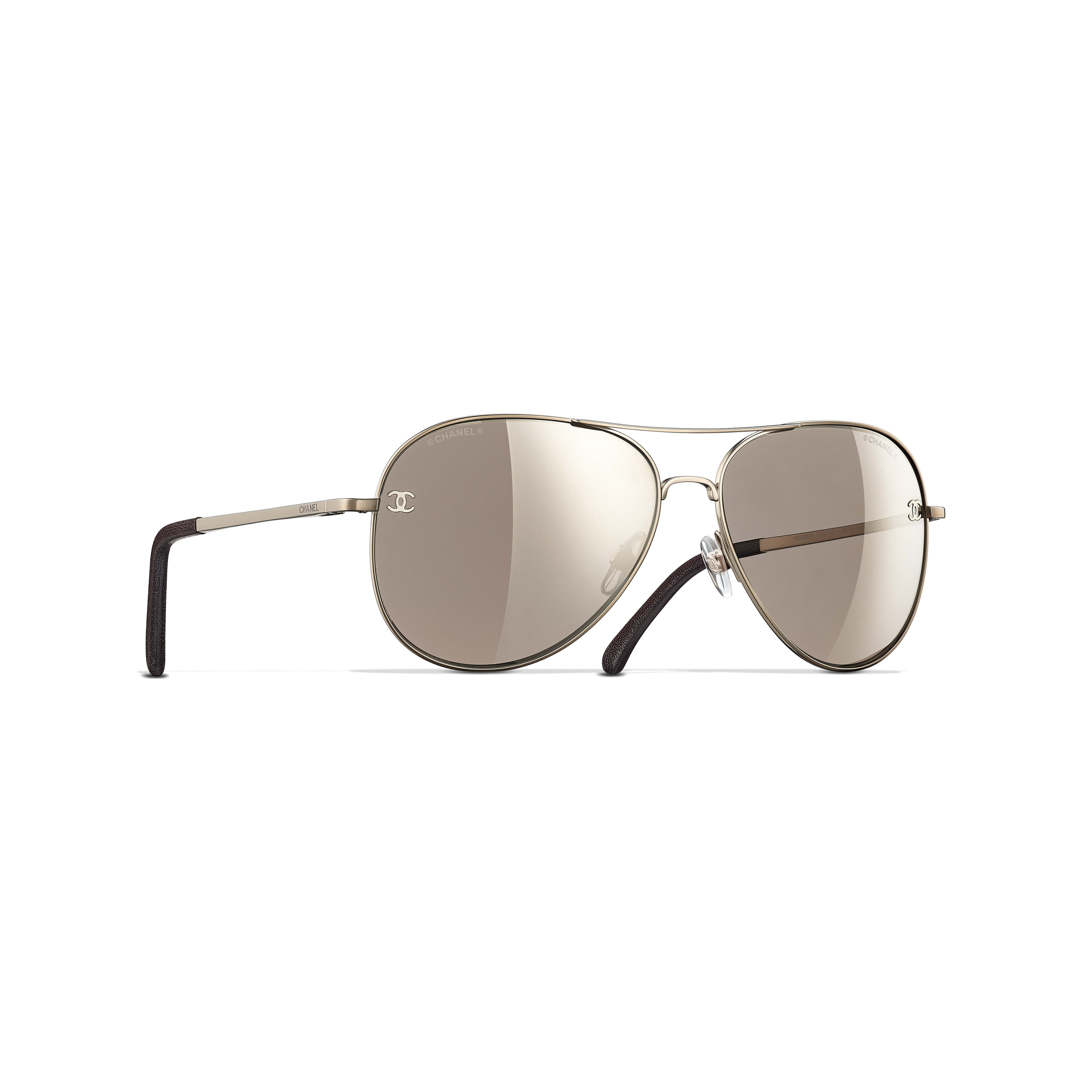 Pilot Sunglasses - Gold & Brown - Titanium & Calfskin - CHANEL - Default view - see standard sized version