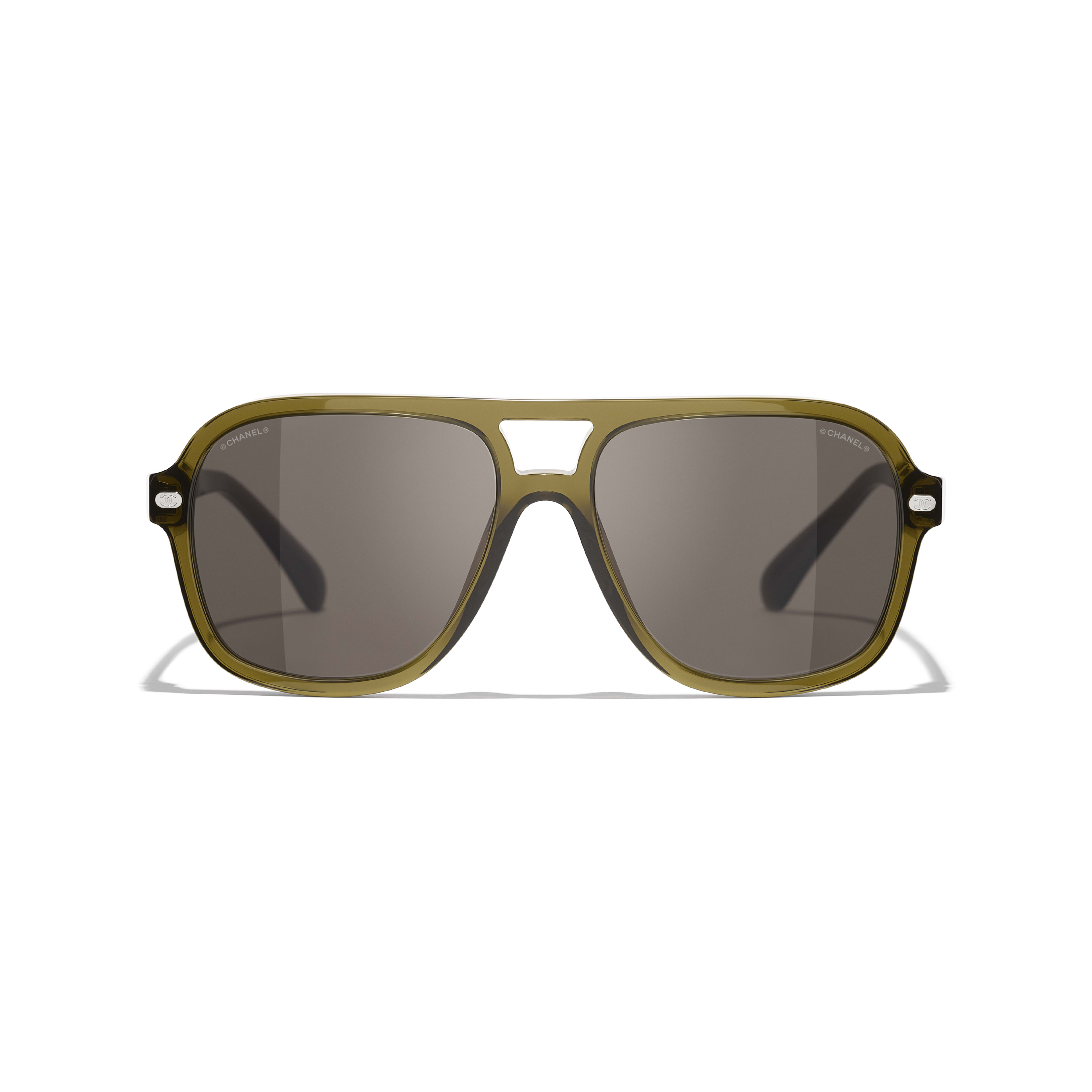 Pilot Sunglasses - Khaki - Acetate & Calfskin - CHANEL - Alternative view - see standard sized version