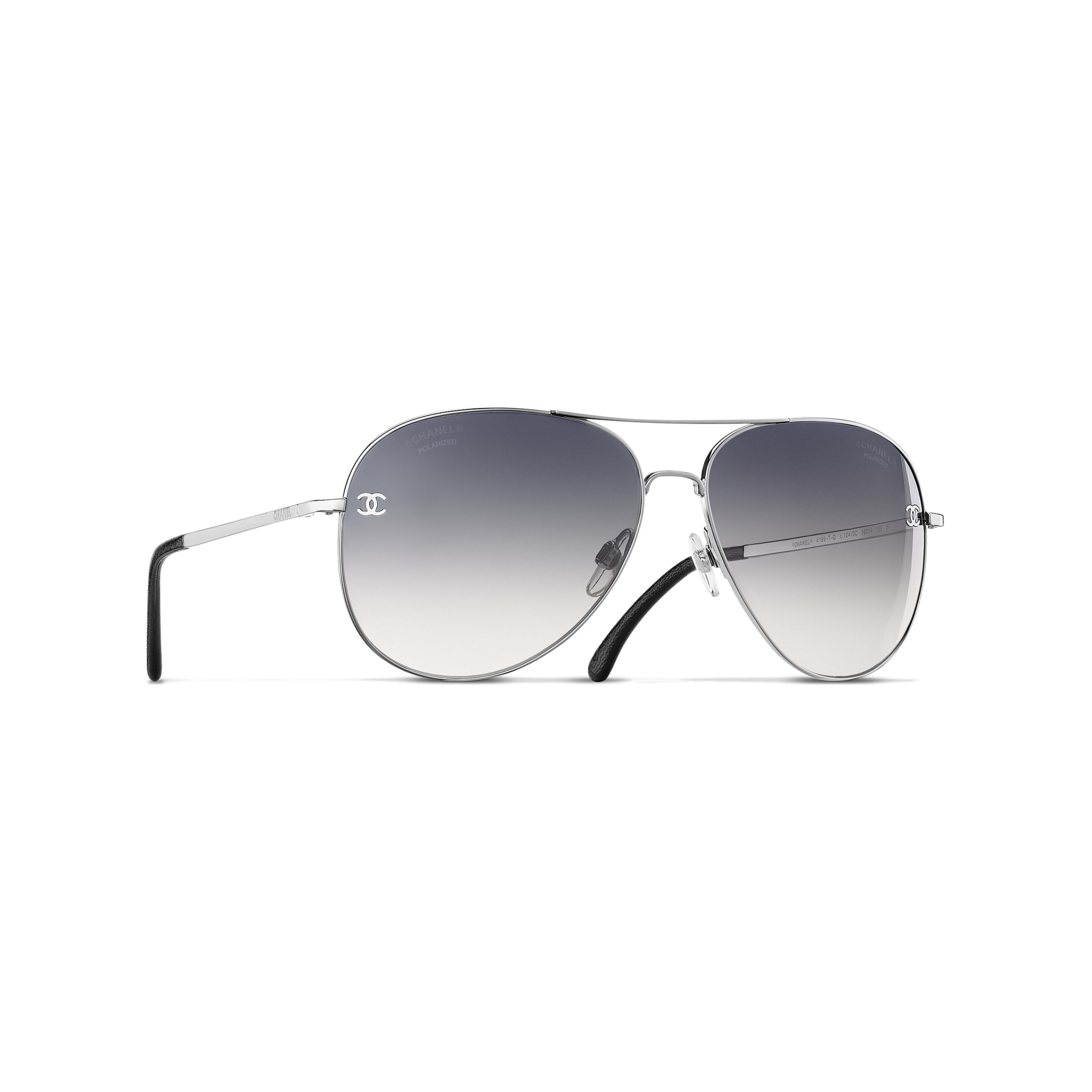 Pilot Sunglasses - Silver - Titanium & Calfskin - CHANEL - Default view - see standard sized version